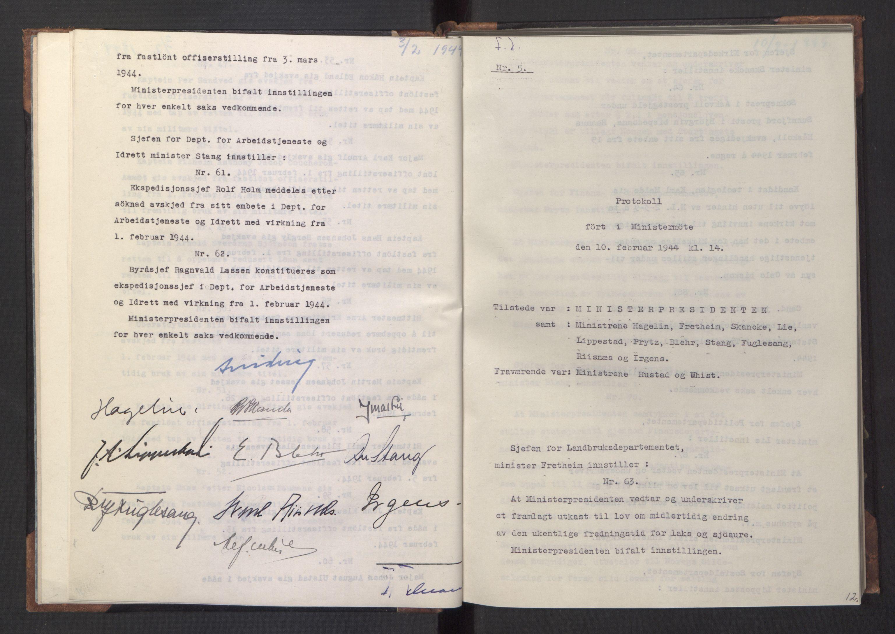 RA, NS-administrasjonen 1940-1945 (Statsrådsekretariatet, de kommisariske statsråder mm), D/Da/L0005: Protokoll fra ministermøter, 1944, s. 11b-12a