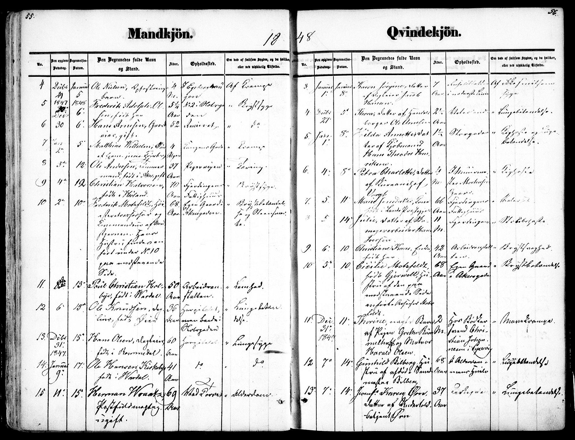 SAO, Oslo domkirke Kirkebøker, F/Fa/L0025: Ministerialbok nr. 25, 1847-1867, s. 55-56