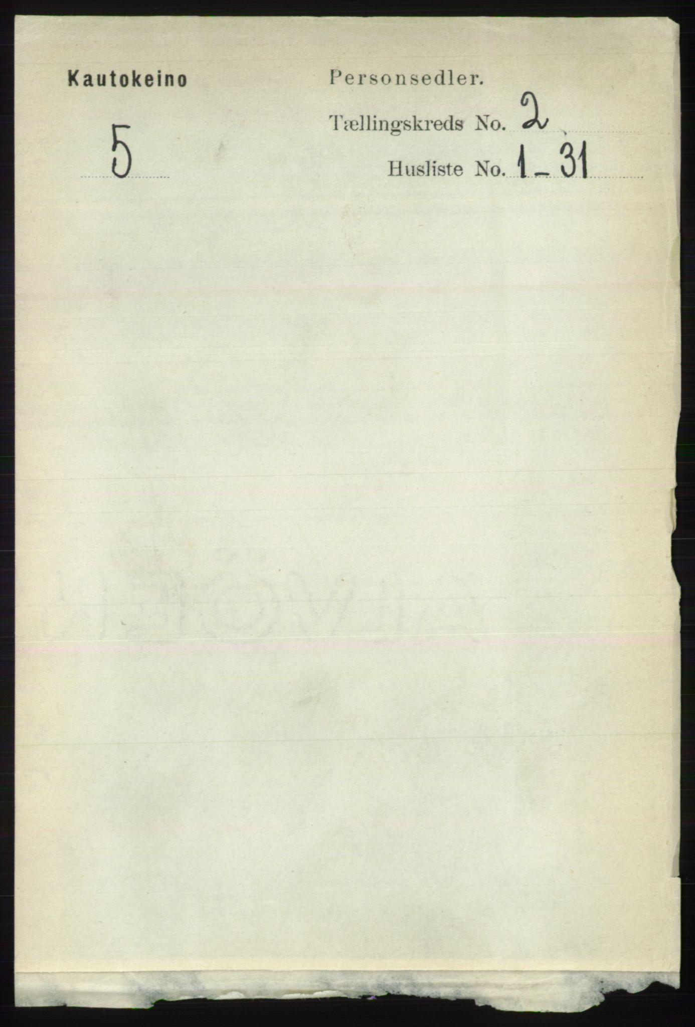 RA, Folketelling 1891 for 2011 Kautokeino herred, 1891, s. 322