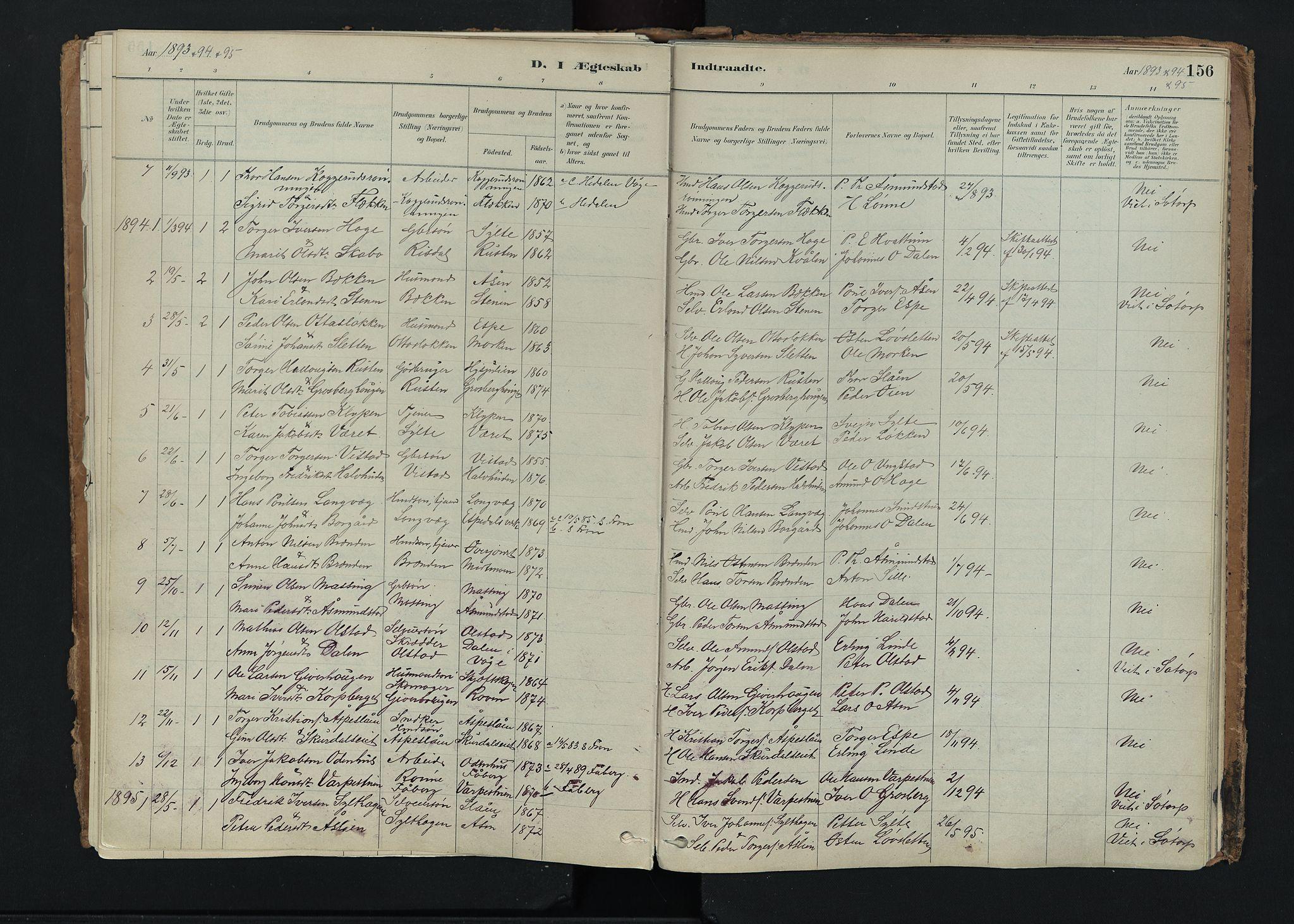 SAH, Nord-Fron prestekontor, Ministerialbok nr. 5, 1884-1914, s. 156