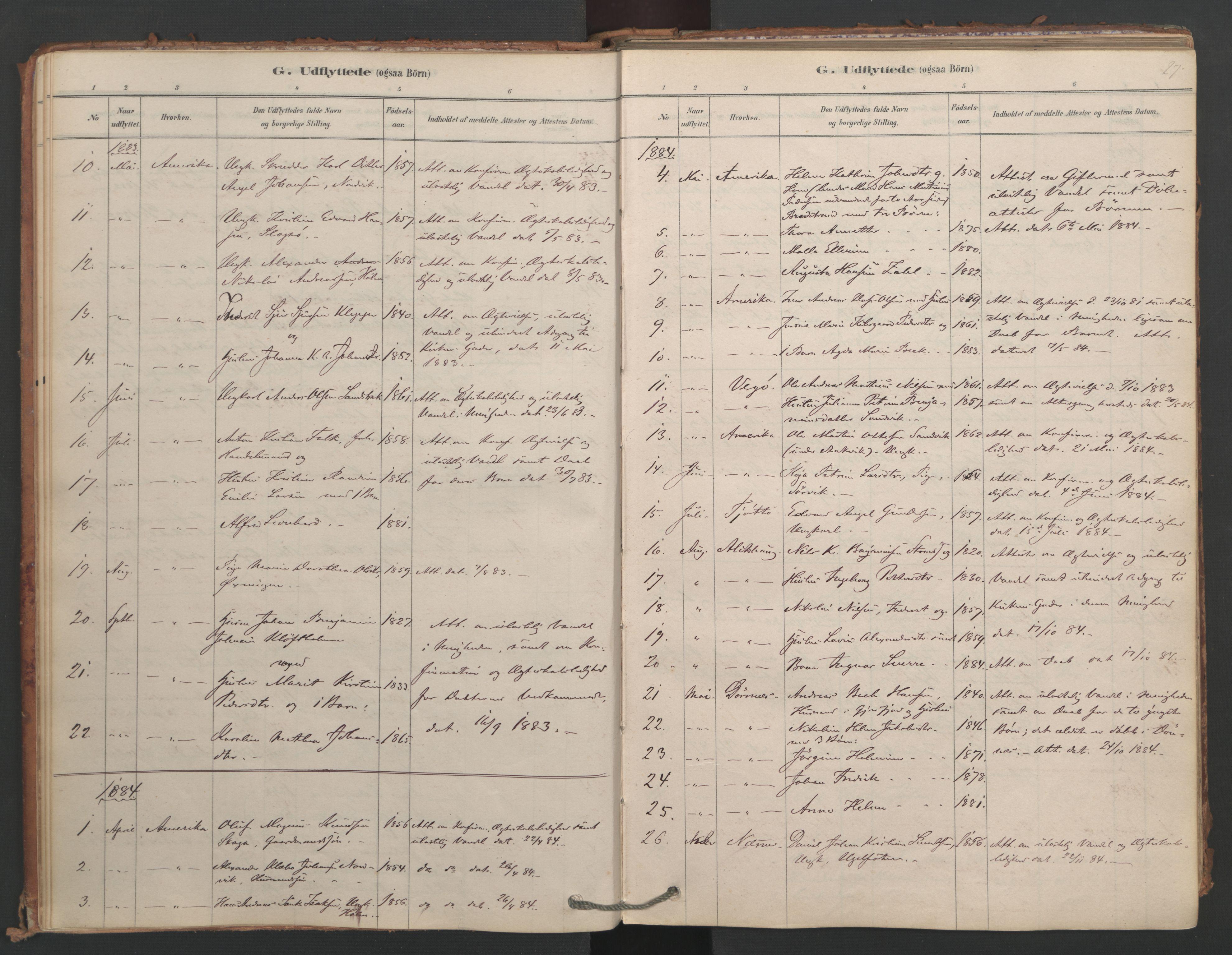 SAT, Ministerialprotokoller, klokkerbøker og fødselsregistre - Nordland, 834/L0509: Ministerialbok nr. 834A07, 1878-1937, s. 27