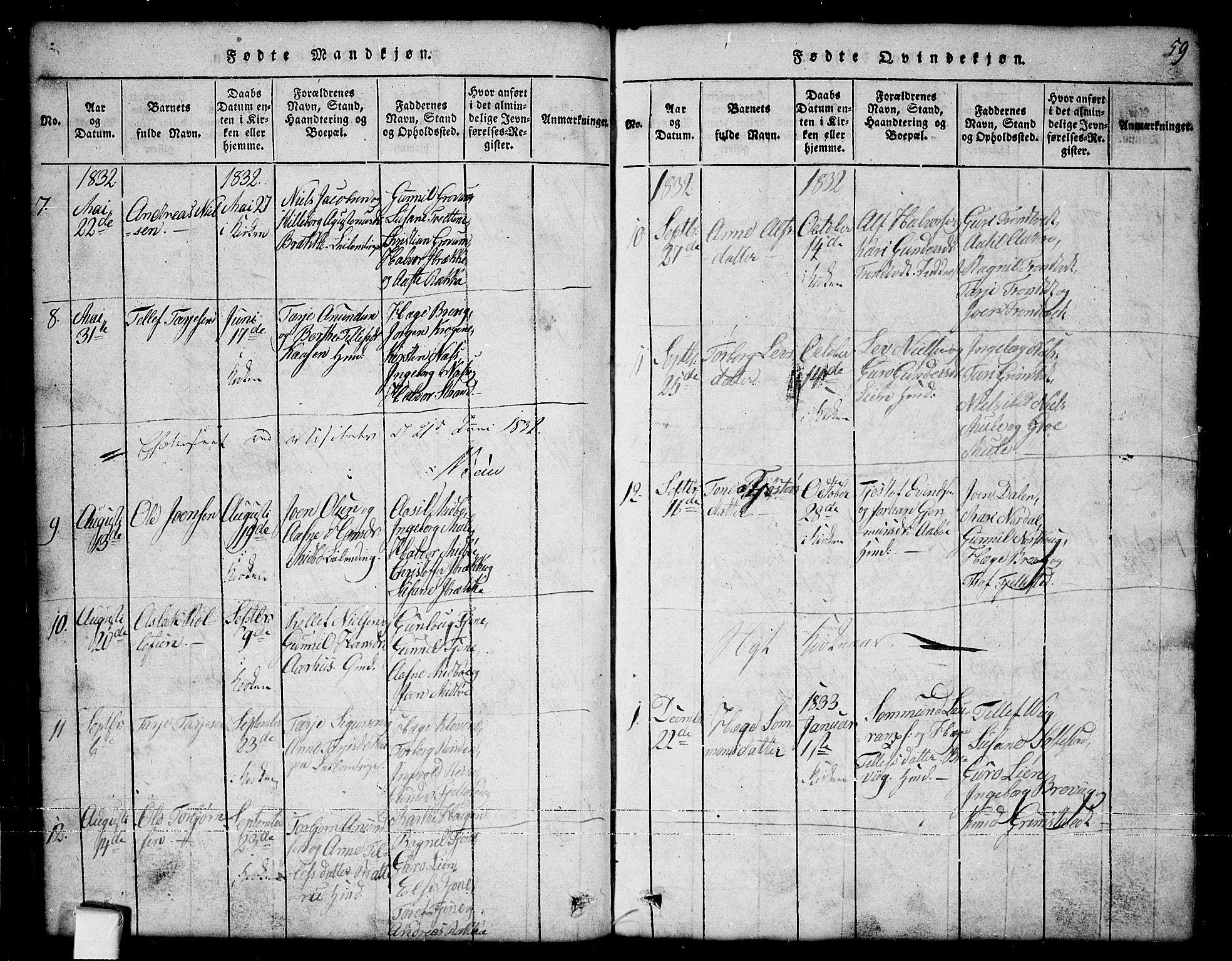 SAKO, Nissedal kirkebøker, G/Ga/L0001: Klokkerbok nr. I 1, 1814-1860, s. 59