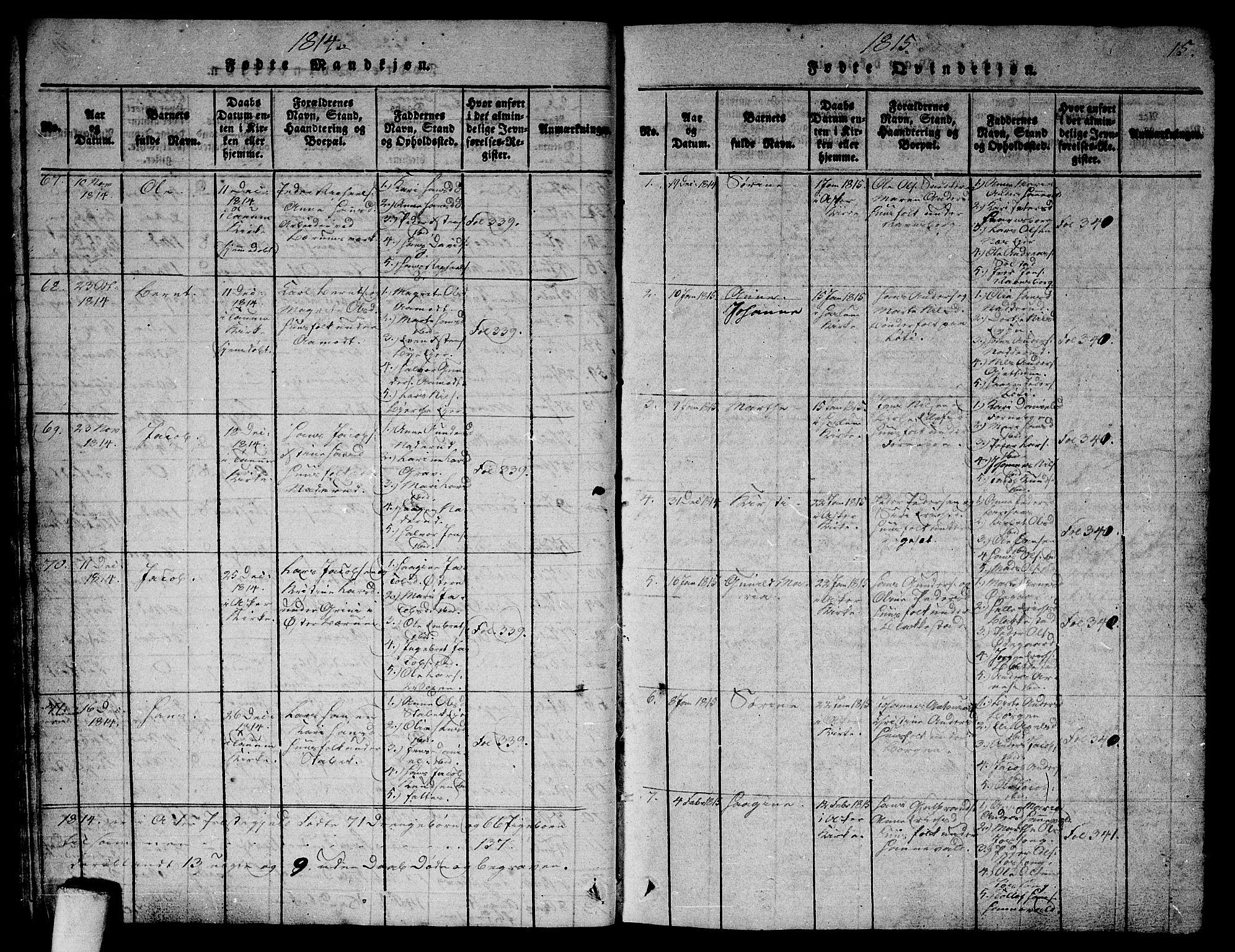 SAO, Asker prestekontor Kirkebøker, G/Ga/L0001: Klokkerbok nr. I 1, 1814-1830, s. 15