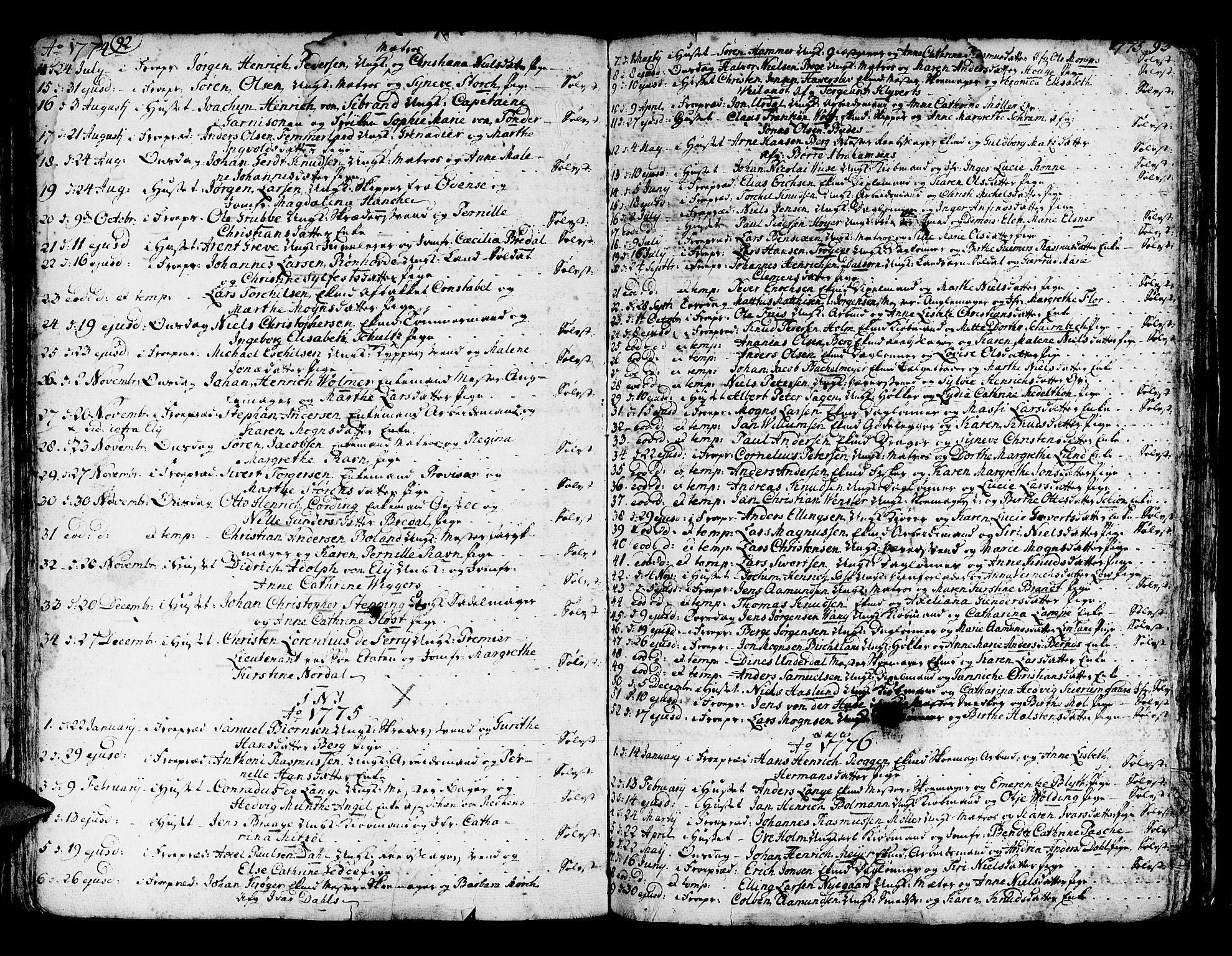SAB, Domkirken Sokneprestembete, H/Haa/L0007: Ministerialbok nr. A 7, 1725-1826, s. 92-93