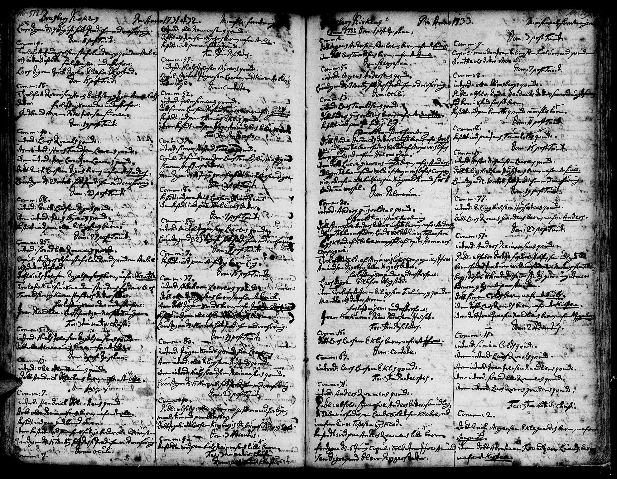 SAT, Ministerialprotokoller, klokkerbøker og fødselsregistre - Sør-Trøndelag, 606/L0278: Ministerialbok nr. 606A01 /4, 1727-1780, s. 518-519