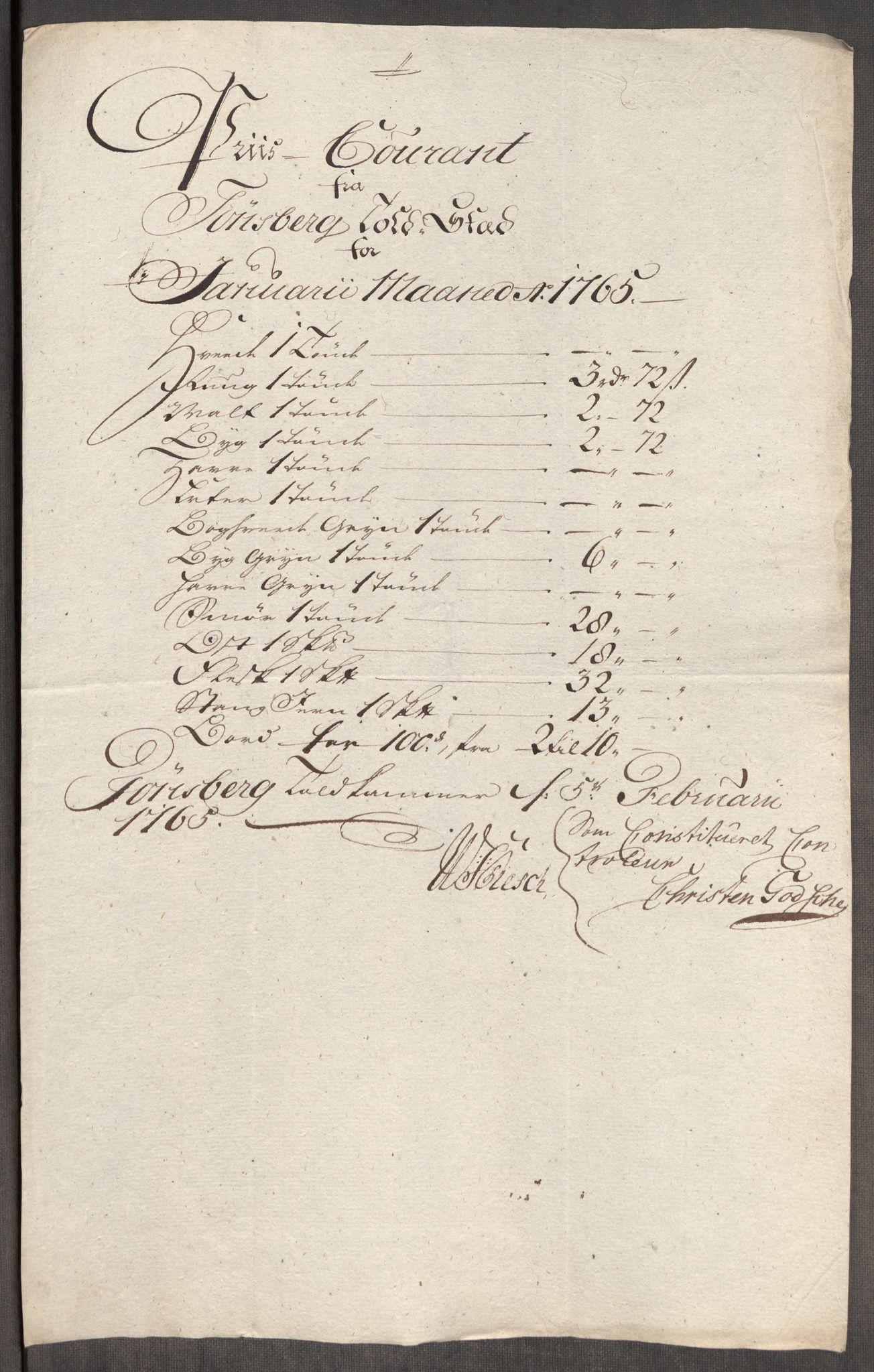 RA, Rentekammeret inntil 1814, Realistisk ordnet avdeling, Oe/L0008: [Ø1]: Priskuranter, 1764-1768, s. 377