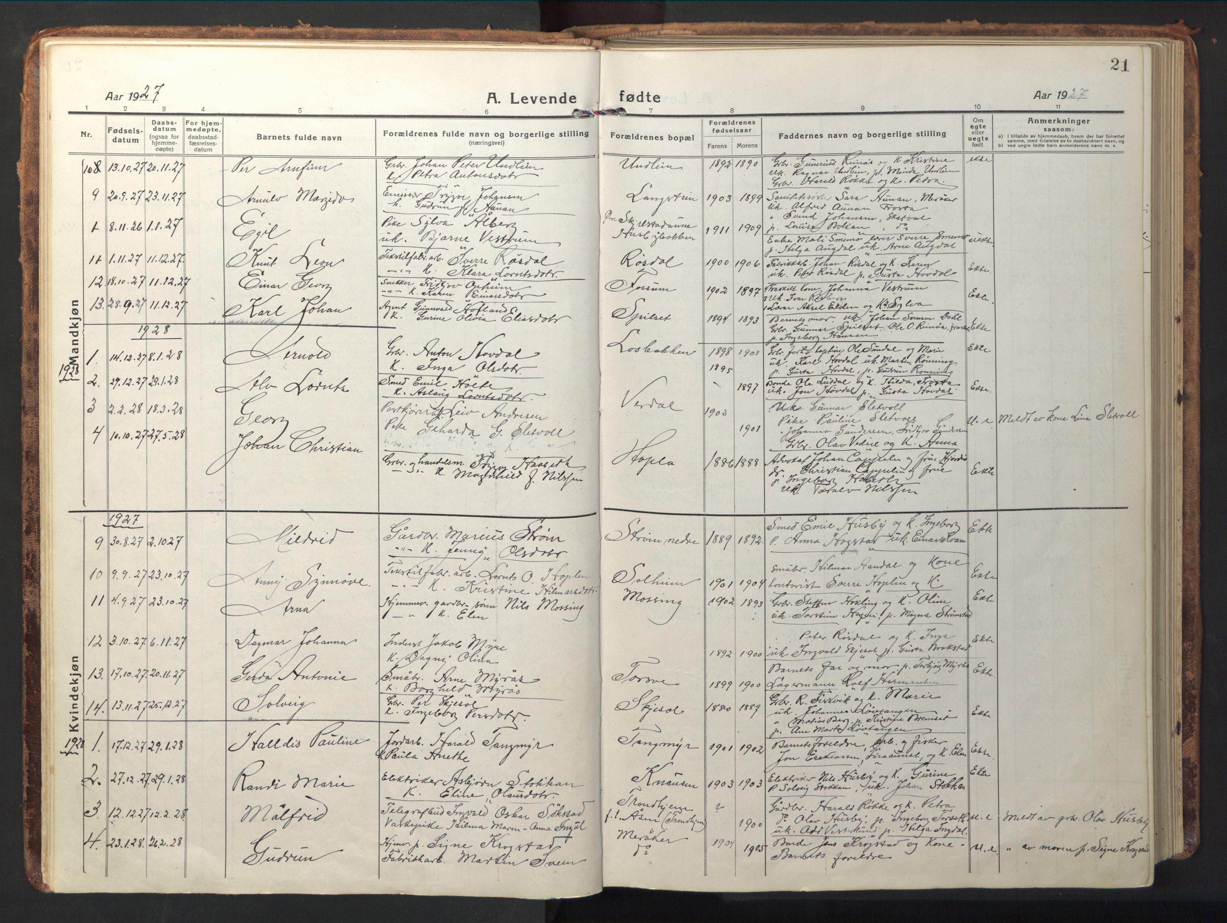 SAT, Ministerialprotokoller, klokkerbøker og fødselsregistre - Nord-Trøndelag, 714/L0136: Klokkerbok nr. 714C05, 1918-1957, s. 21