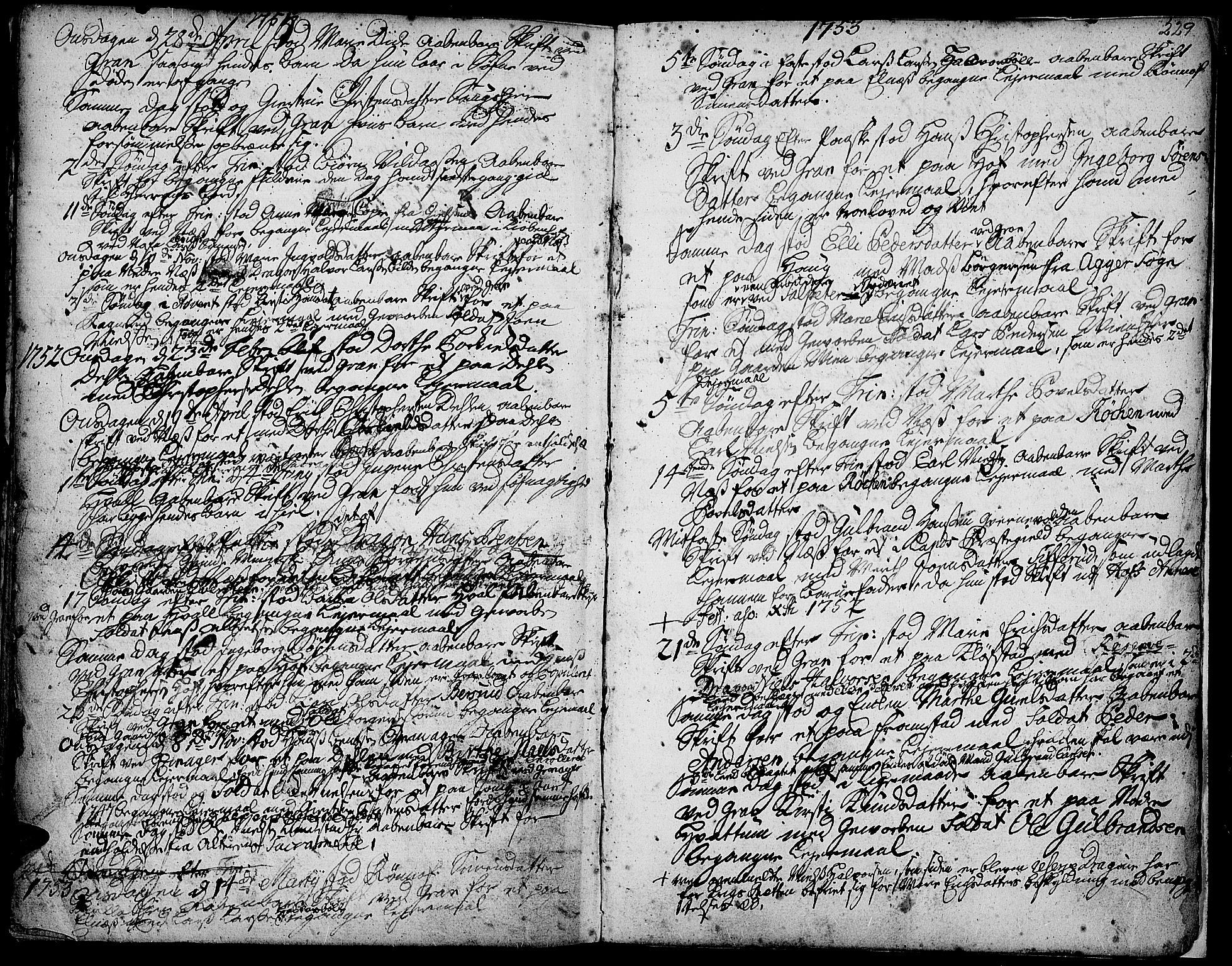 SAH, Gran prestekontor, Ministerialbok nr. 3, 1745-1758, s. 229