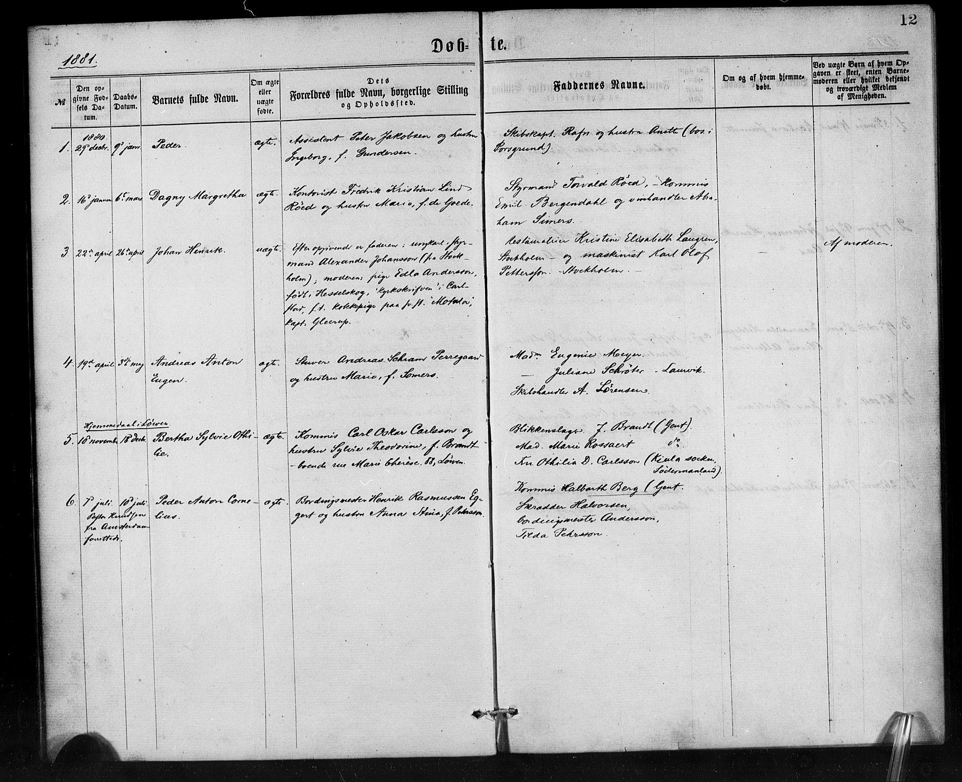 SAB, Den Norske Sjømannsmisjon i utlandet*, Ministerialbok nr. A 1, 1865-1887, s. 12