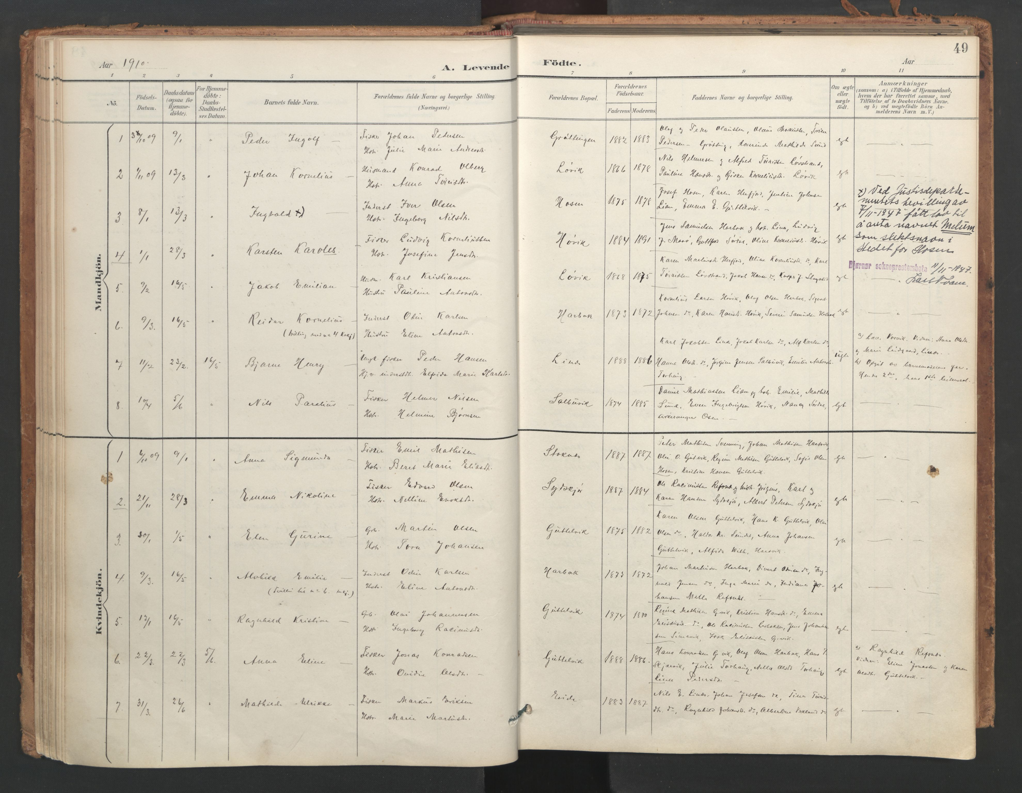 SAT, Ministerialprotokoller, klokkerbøker og fødselsregistre - Sør-Trøndelag, 656/L0693: Ministerialbok nr. 656A02, 1894-1913, s. 49
