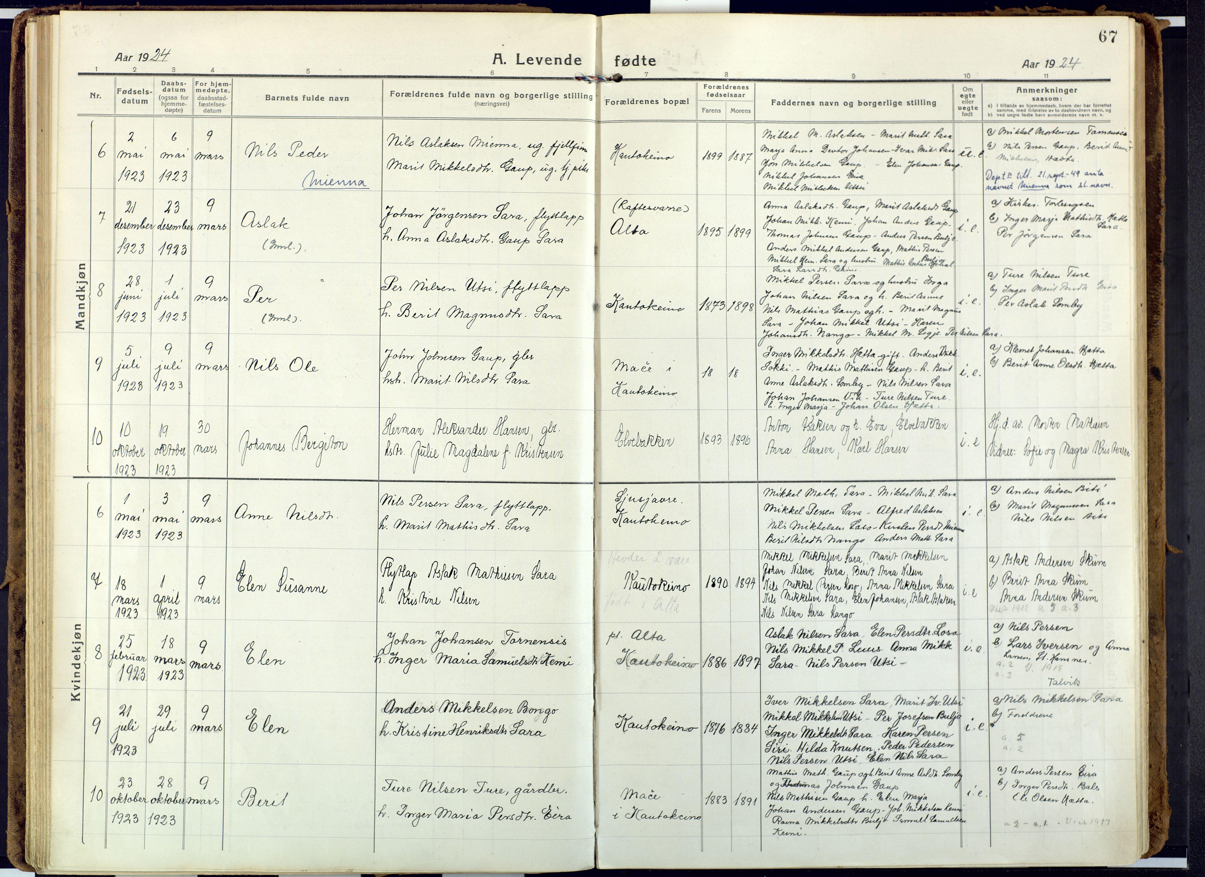 SATØ, Alta sokneprestembete, Ministerialbok nr. 6, 1918-1931, s. 67