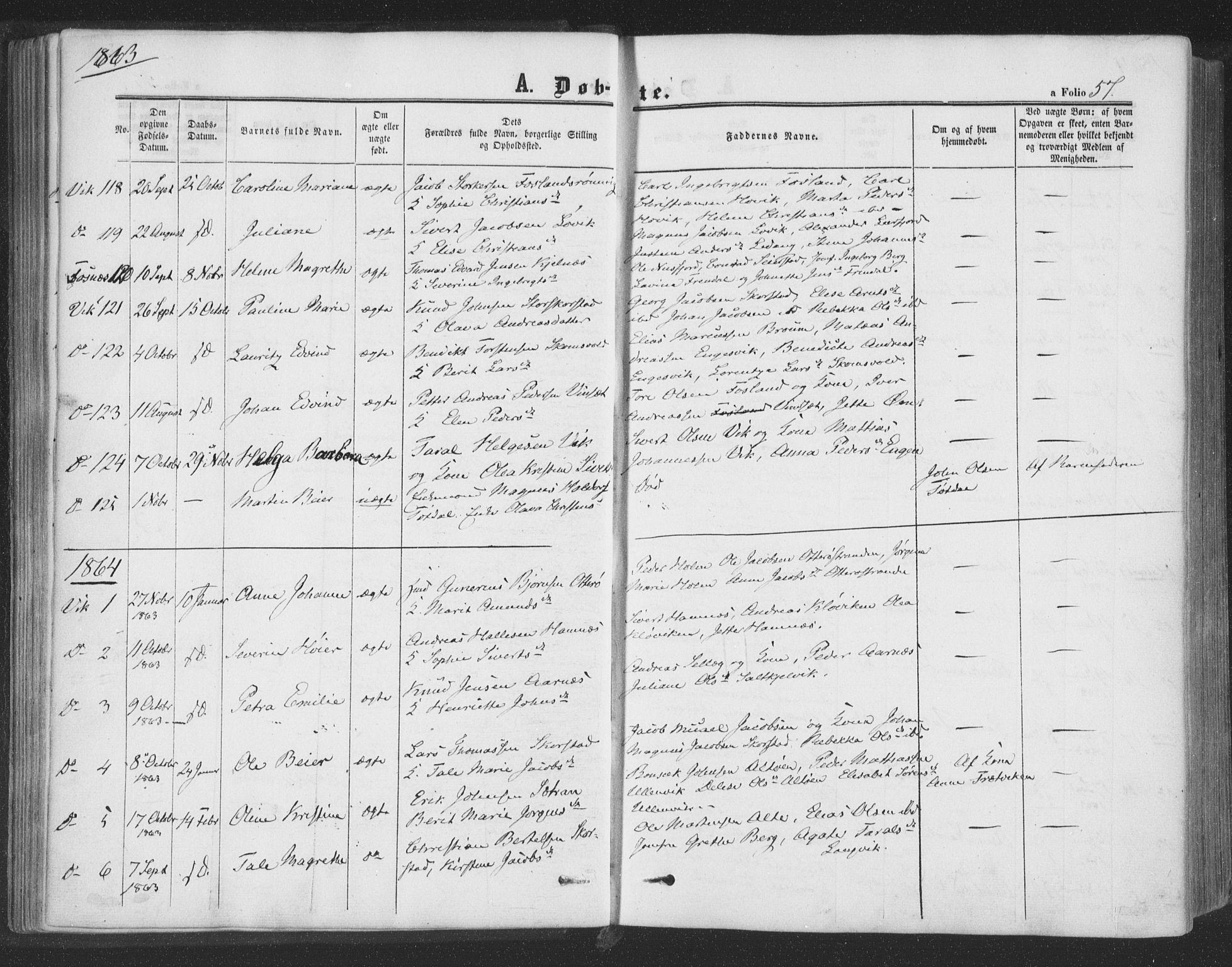 SAT, Ministerialprotokoller, klokkerbøker og fødselsregistre - Nord-Trøndelag, 773/L0615: Ministerialbok nr. 773A06, 1857-1870, s. 57