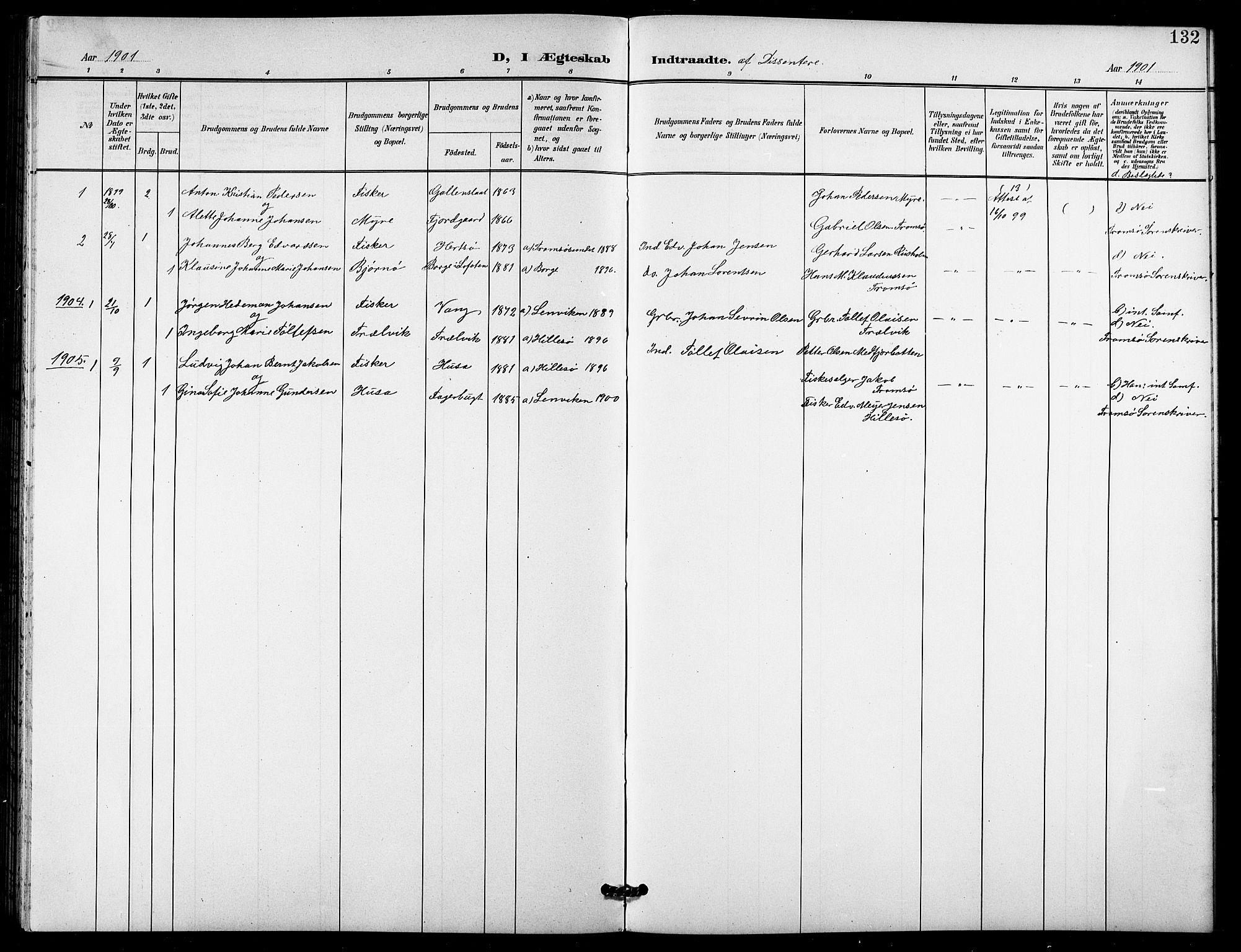 SATØ, Lenvik sokneprestembete, H/Ha: Klokkerbok nr. 22, 1901-1918, s. 132