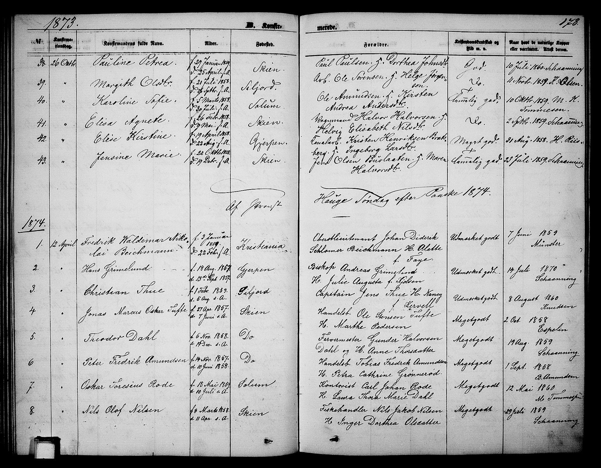 SAKO, Skien kirkebøker, G/Ga/L0005: Klokkerbok nr. 5, 1868-1880, s. 178