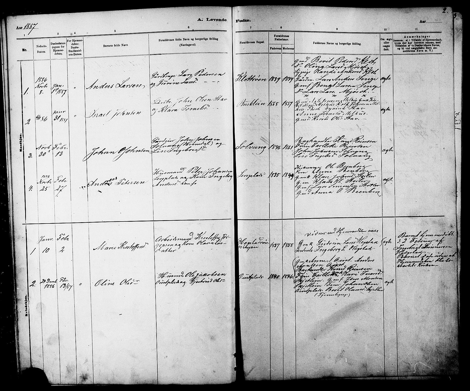 SAT, Ministerialprotokoller, klokkerbøker og fødselsregistre - Sør-Trøndelag, 613/L0395: Klokkerbok nr. 613C03, 1887-1909, s. 2