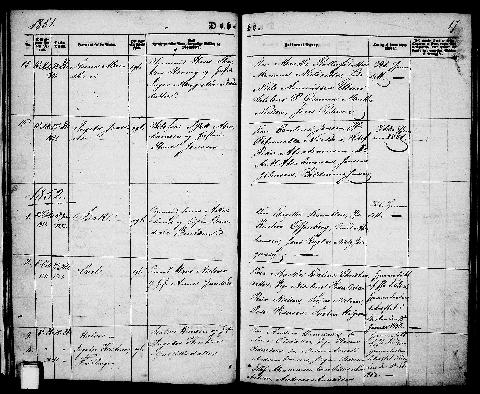 SAKO, Porsgrunn kirkebøker , G/Ga/L0002: Klokkerbok nr. I 2, 1847-1877, s. 17
