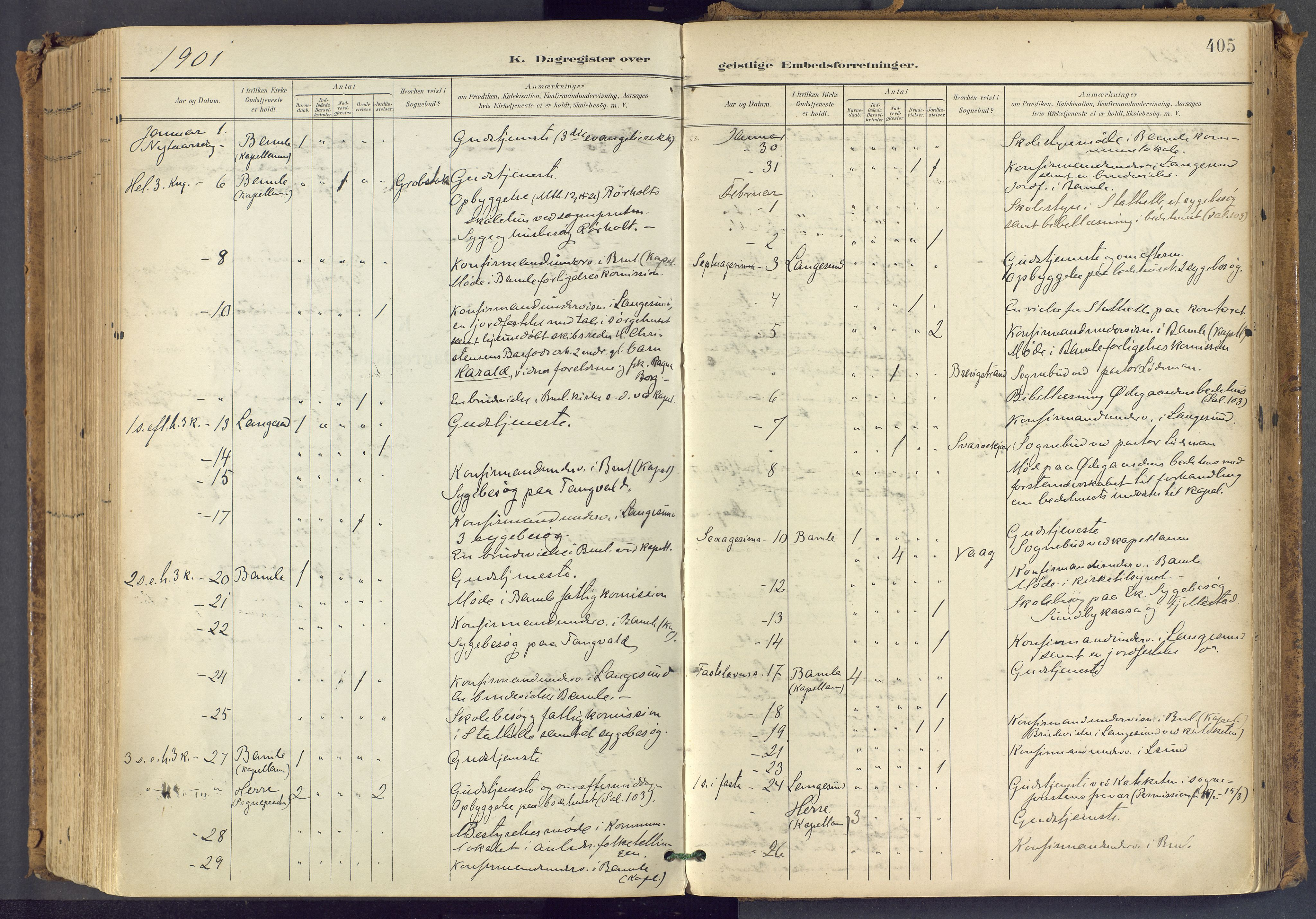 SAKO, Bamble kirkebøker, F/Fa/L0009: Ministerialbok nr. I 9, 1901-1917, s. 405