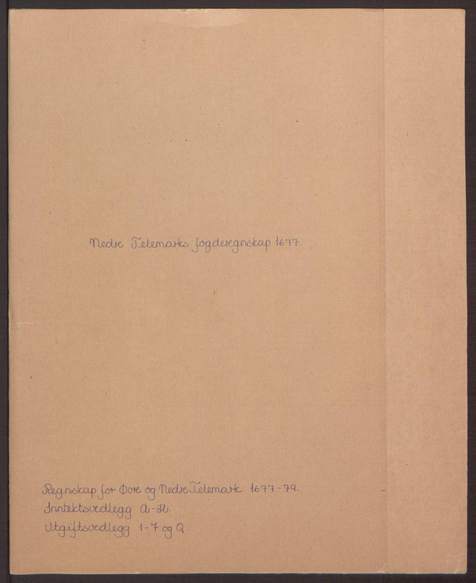 RA, Rentekammeret inntil 1814, Reviderte regnskaper, Fogderegnskap, R35/L2068: Fogderegnskap Øvre og Nedre Telemark, 1677, s. 2