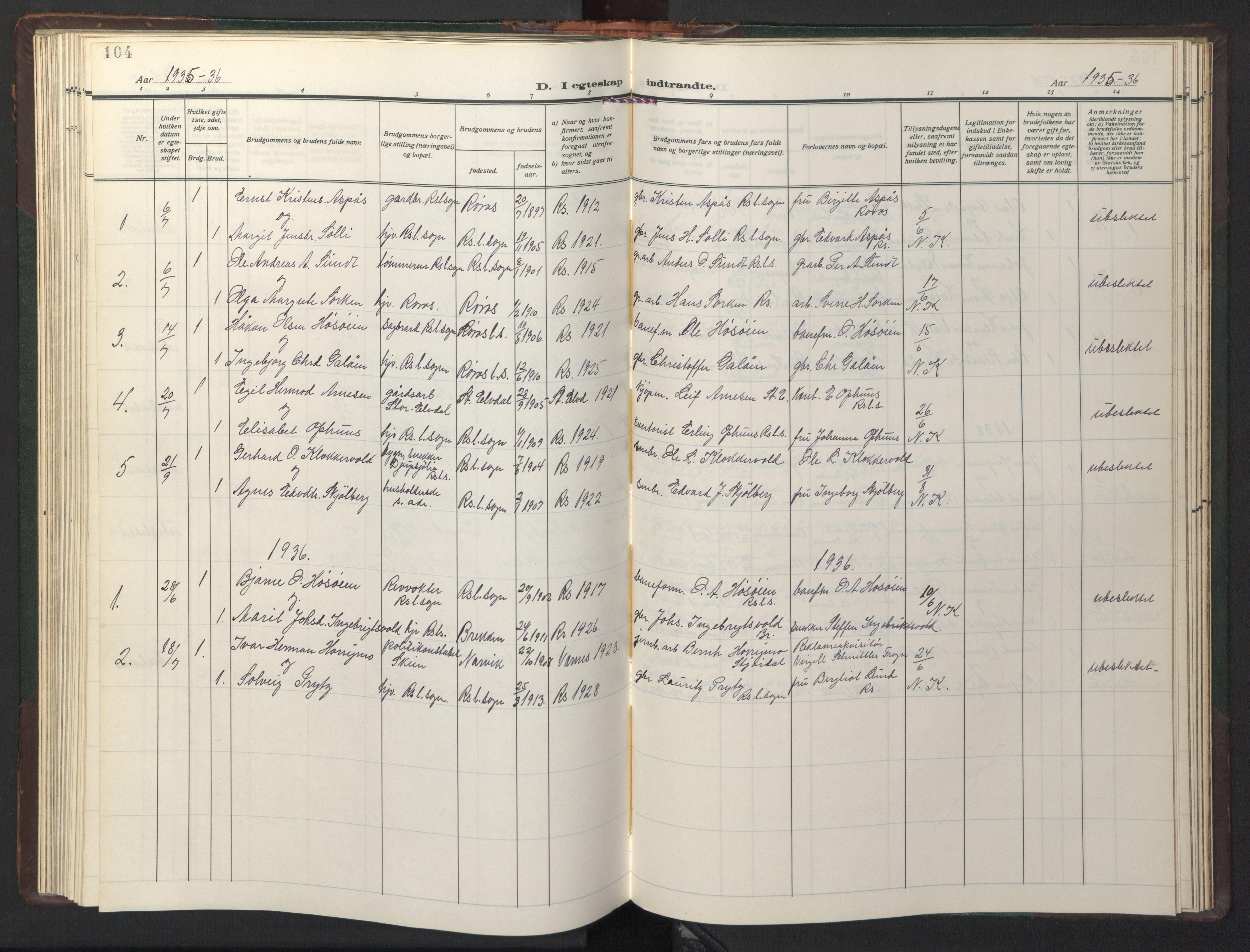 SAT, Ministerialprotokoller, klokkerbøker og fødselsregistre - Sør-Trøndelag, 681/L0944: Klokkerbok nr. 681C08, 1926-1954, s. 104