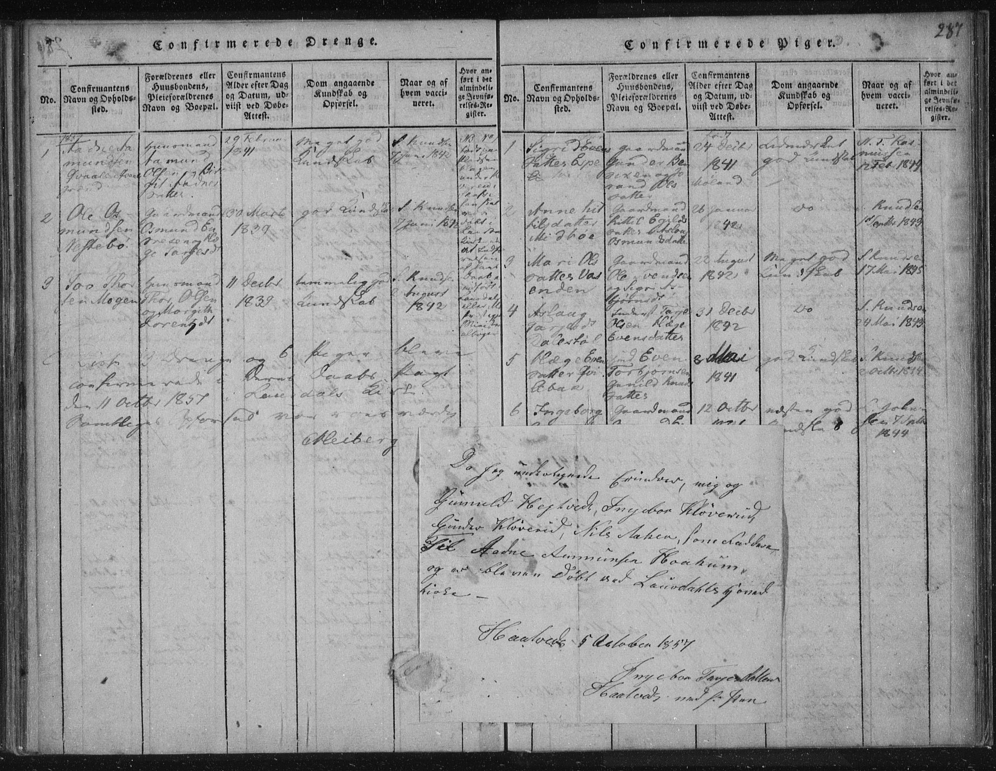 SAKO, Lårdal kirkebøker, F/Fc/L0001: Ministerialbok nr. III 1, 1815-1860, s. 287