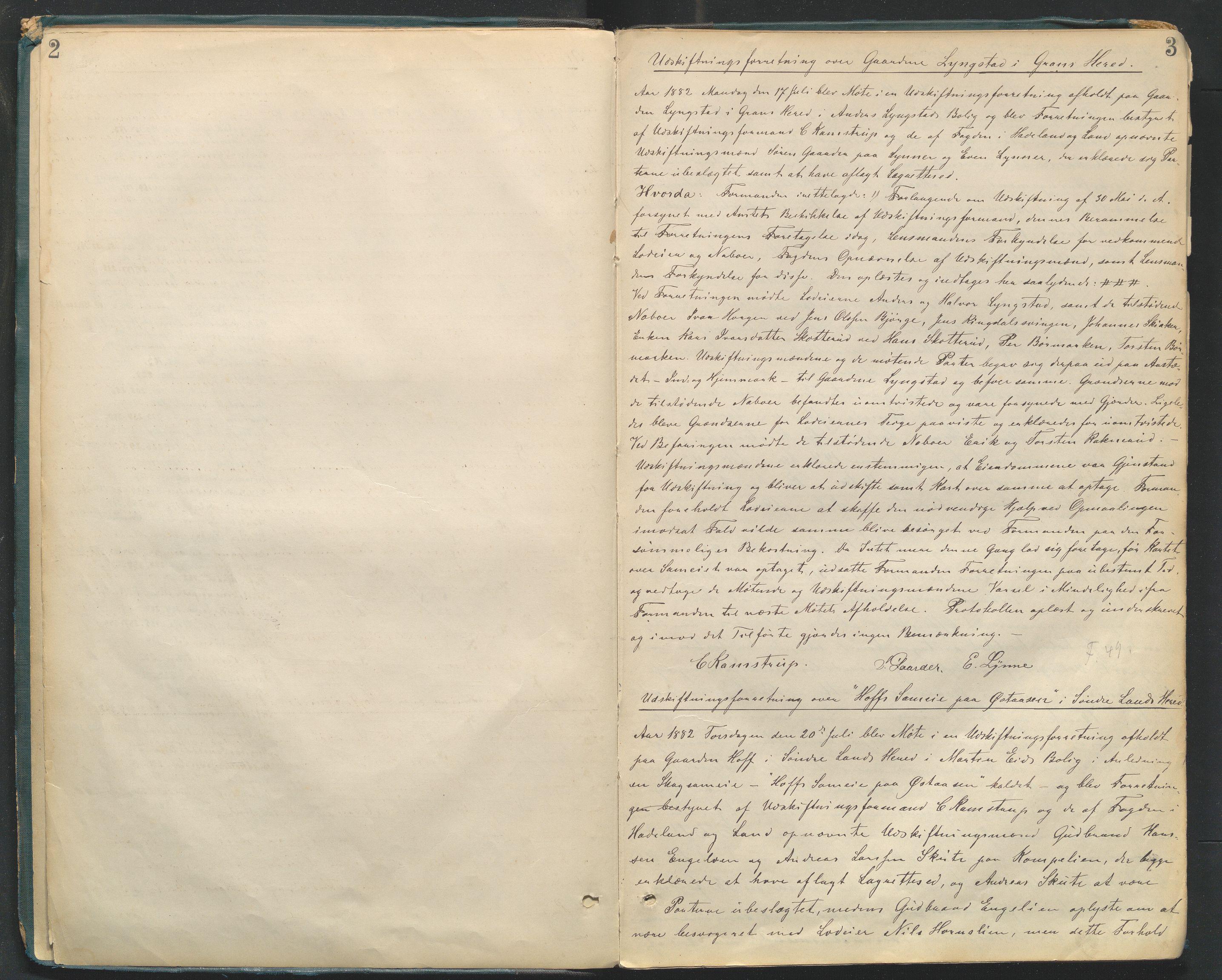 SAH, Utskiftningsformannen i Oppland fylke, H/Hc/Hcg/L0002: Forhandlingsprotokoller , 1882-1889, s. 2-3