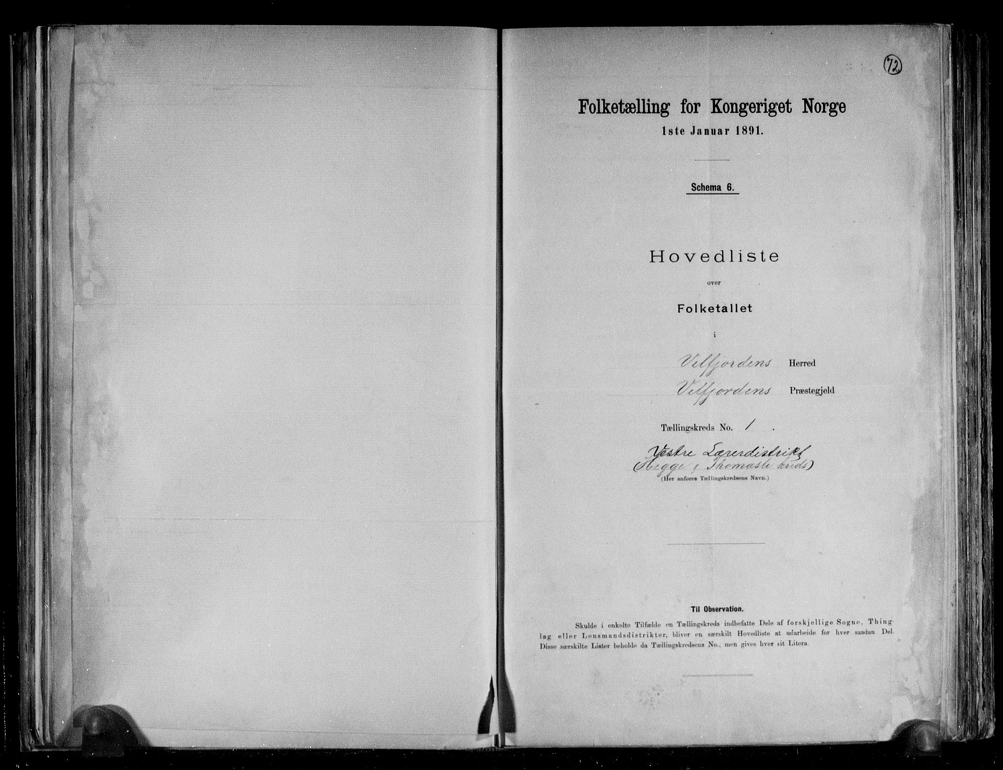 RA, Folketelling 1891 for 1813 Velfjord herred, 1891, s. 5