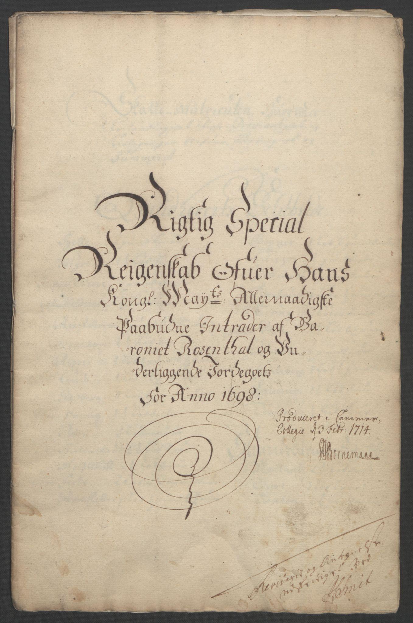 RA, Rentekammeret inntil 1814, Reviderte regnskaper, Fogderegnskap, R49/L3138: Fogderegnskap Rosendal Baroni, 1691-1714, s. 67