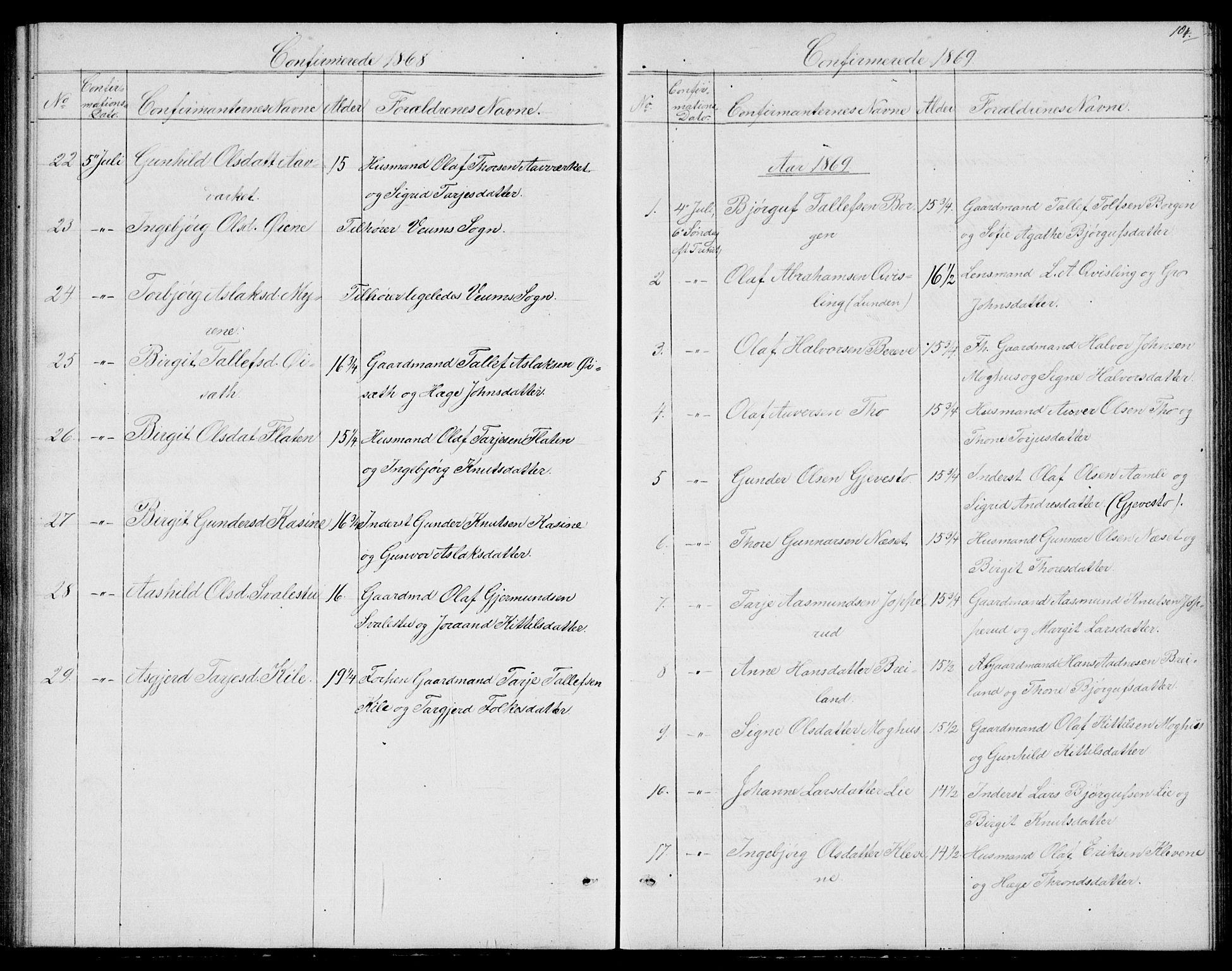 SAKO, Fyresdal kirkebøker, G/Ga/L0004: Klokkerbok nr. I 4, 1864-1892, s. 104