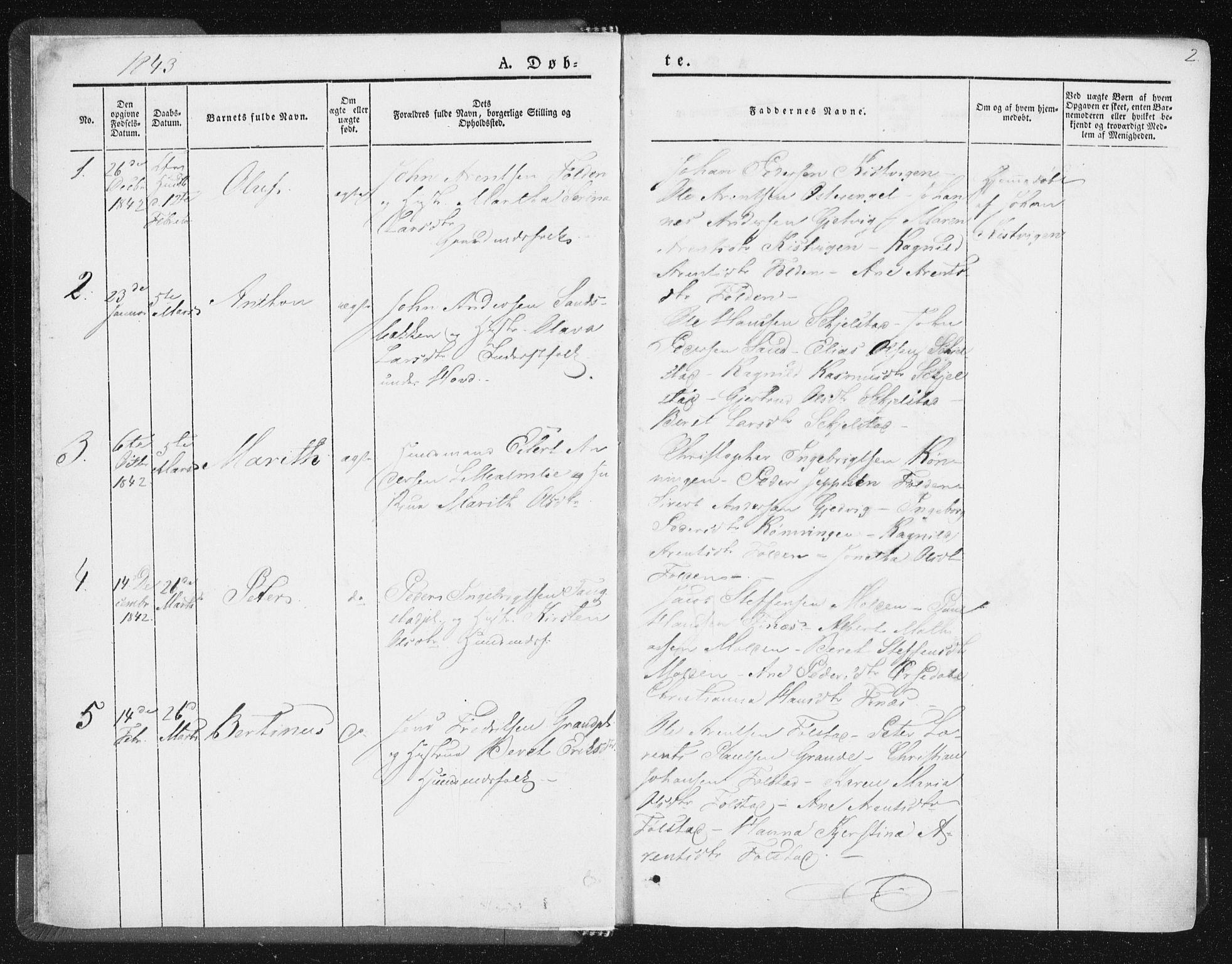 SAT, Ministerialprotokoller, klokkerbøker og fødselsregistre - Nord-Trøndelag, 744/L0418: Ministerialbok nr. 744A02, 1843-1866, s. 2