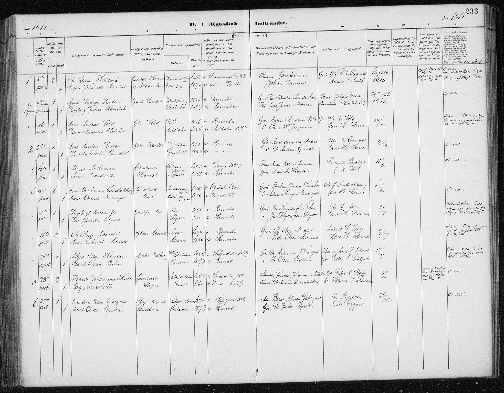 SAT, Ministerialprotokoller, klokkerbøker og fødselsregistre - Sør-Trøndelag, 674/L0876: Klokkerbok nr. 674C03, 1892-1912, s. 233