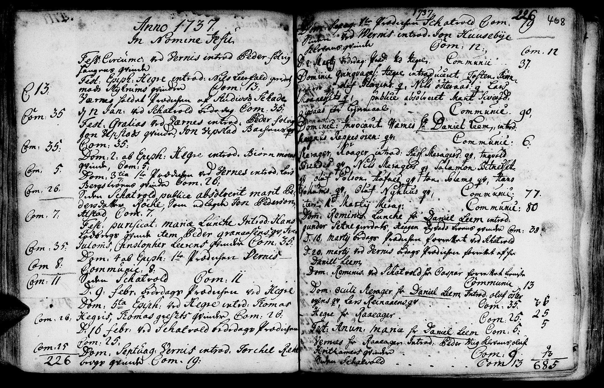 SAT, Ministerialprotokoller, klokkerbøker og fødselsregistre - Nord-Trøndelag, 709/L0054: Ministerialbok nr. 709A02, 1714-1738, s. 467-468