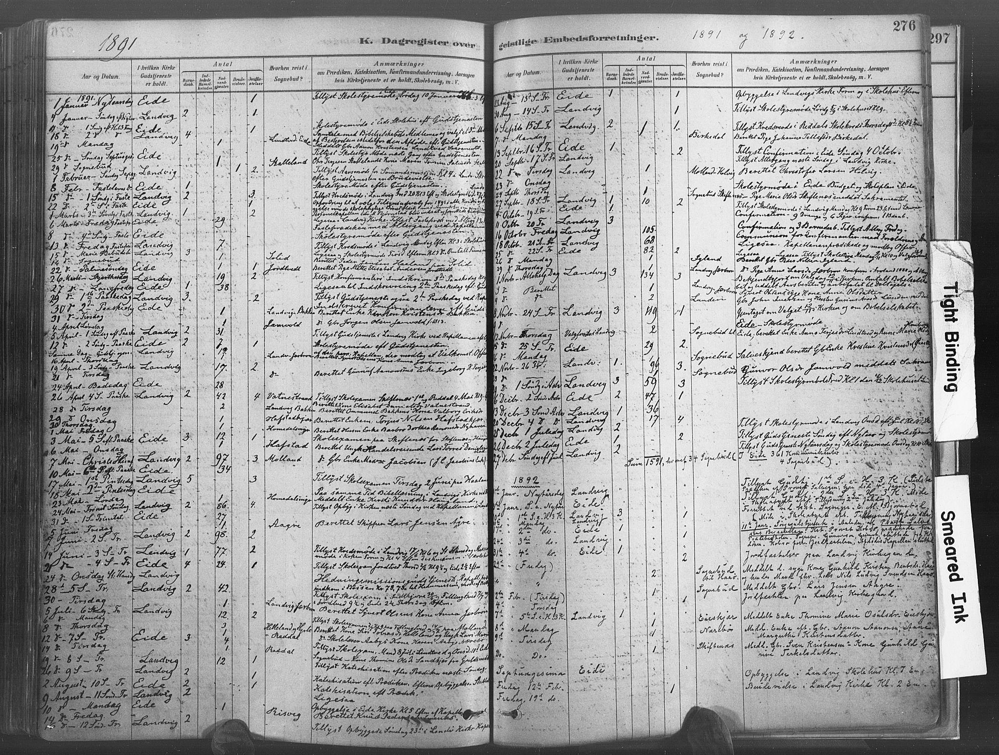 SAK, Hommedal sokneprestkontor, F/Fa/Fab/L0006: Ministerialbok nr. A 6, 1878-1897, s. 276
