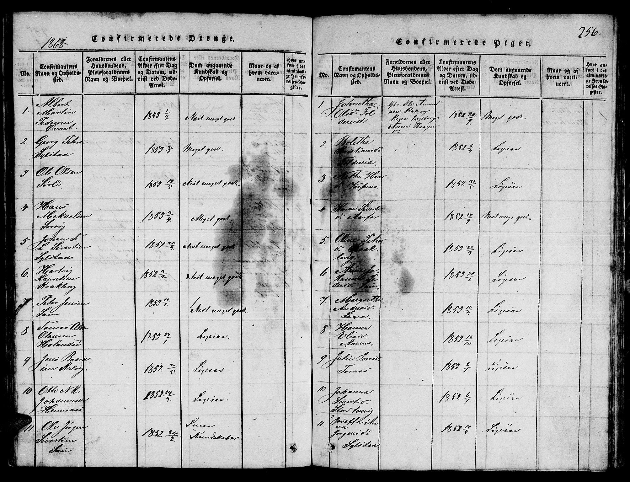 SAT, Ministerialprotokoller, klokkerbøker og fødselsregistre - Nord-Trøndelag, 780/L0648: Klokkerbok nr. 780C01 /3, 1815-1877, s. 256