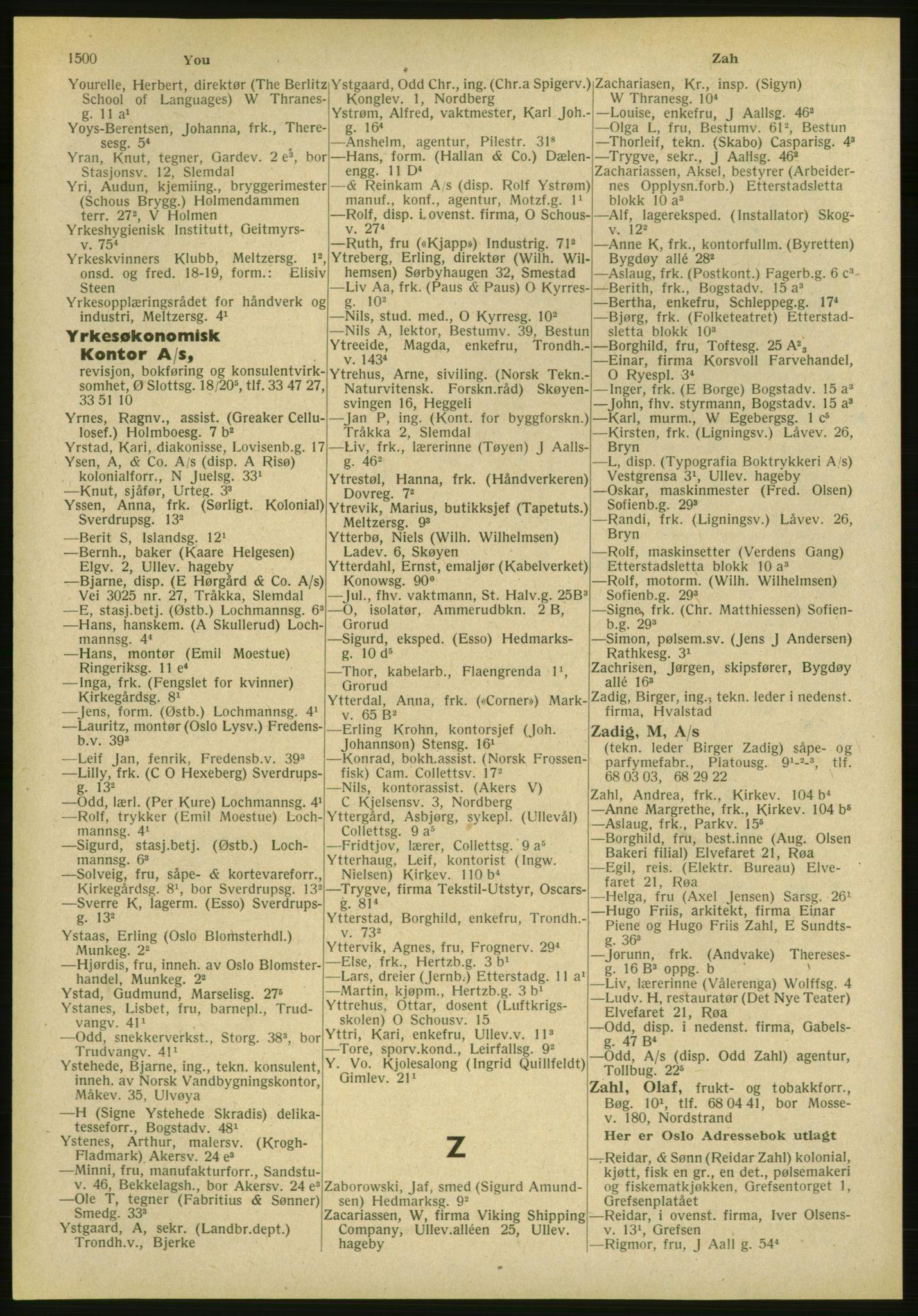 PUBL, Kristiania/Oslo adressebok, 1951, s. 1500