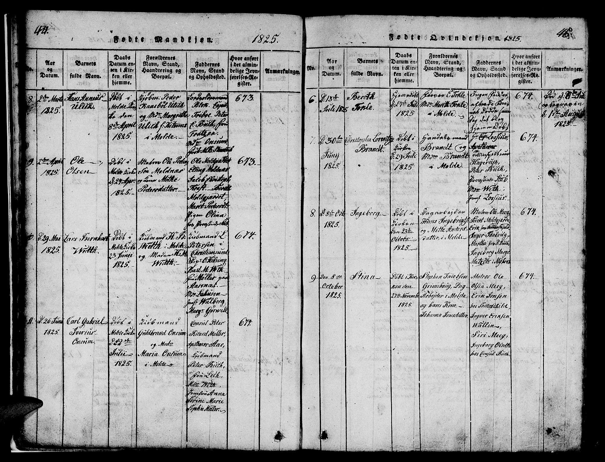 SAT, Ministerialprotokoller, klokkerbøker og fødselsregistre - Møre og Romsdal, 558/L0700: Klokkerbok nr. 558C01, 1818-1868, s. 44-45