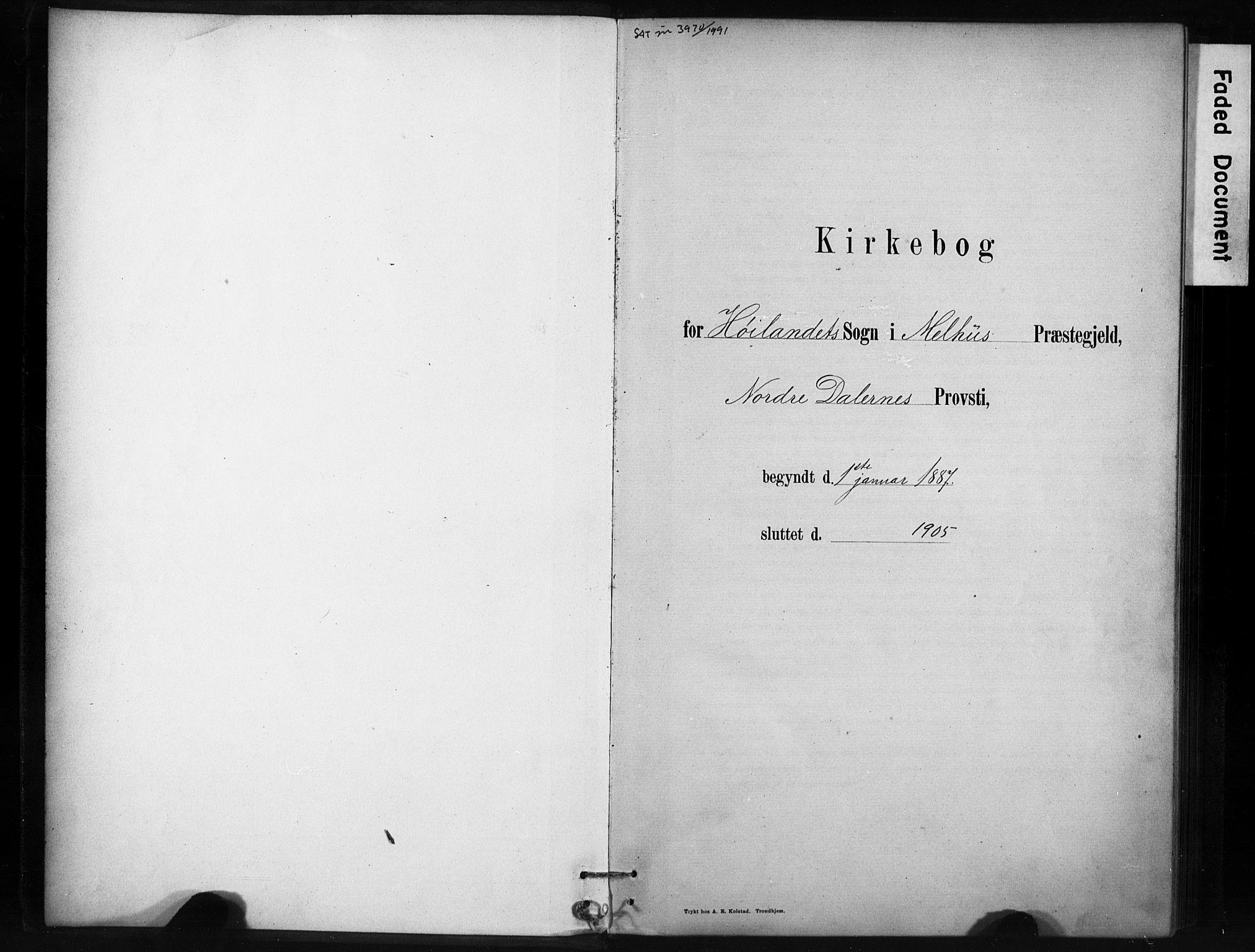 SAT, Ministerialprotokoller, klokkerbøker og fødselsregistre - Sør-Trøndelag, 694/L1127: Ministerialbok nr. 694A01, 1887-1905