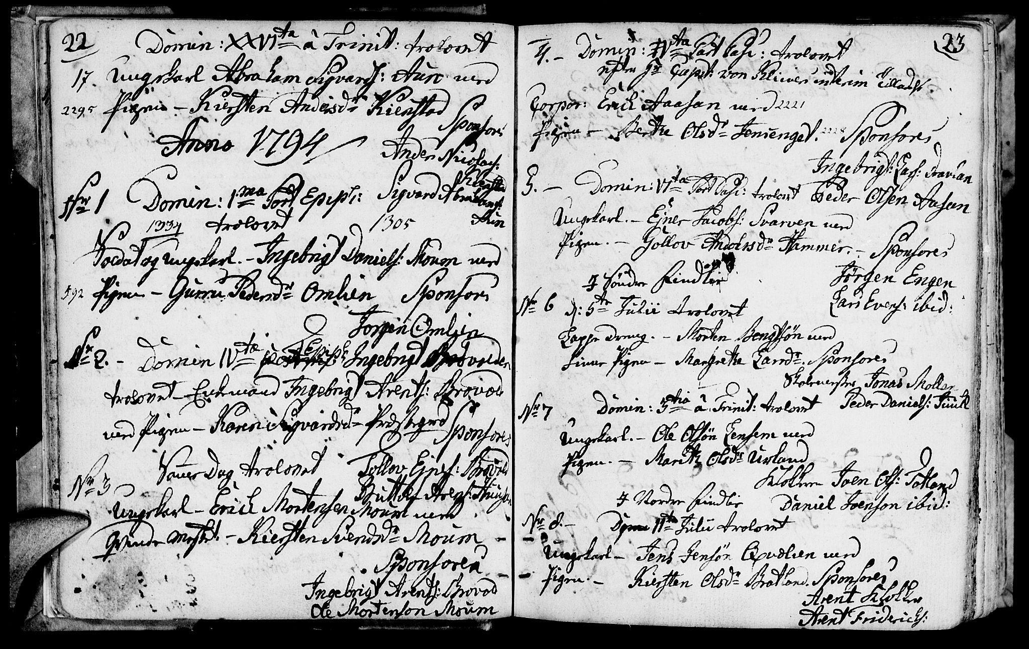 SAT, Ministerialprotokoller, klokkerbøker og fødselsregistre - Nord-Trøndelag, 749/L0468: Ministerialbok nr. 749A02, 1787-1817, s. 22-23