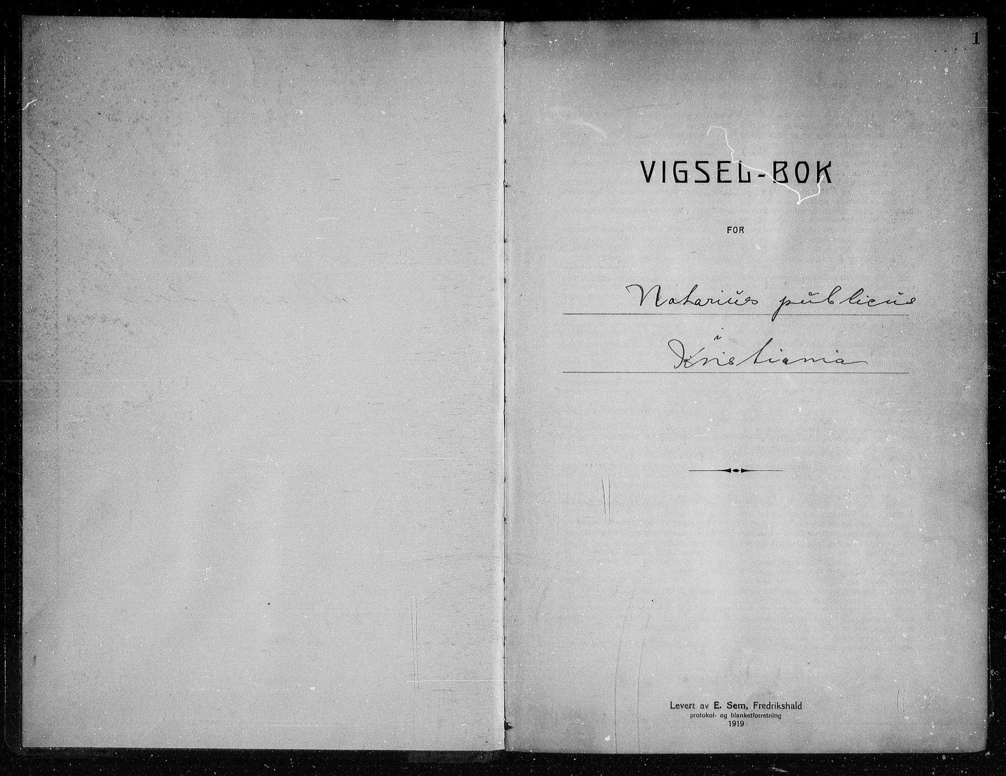 SAO, Oslo byfogd avd. I, L/Lb/Lbb/L0015: Notarialprotokoll, rekke II: Vigsler, 1921-1922, s. 1a