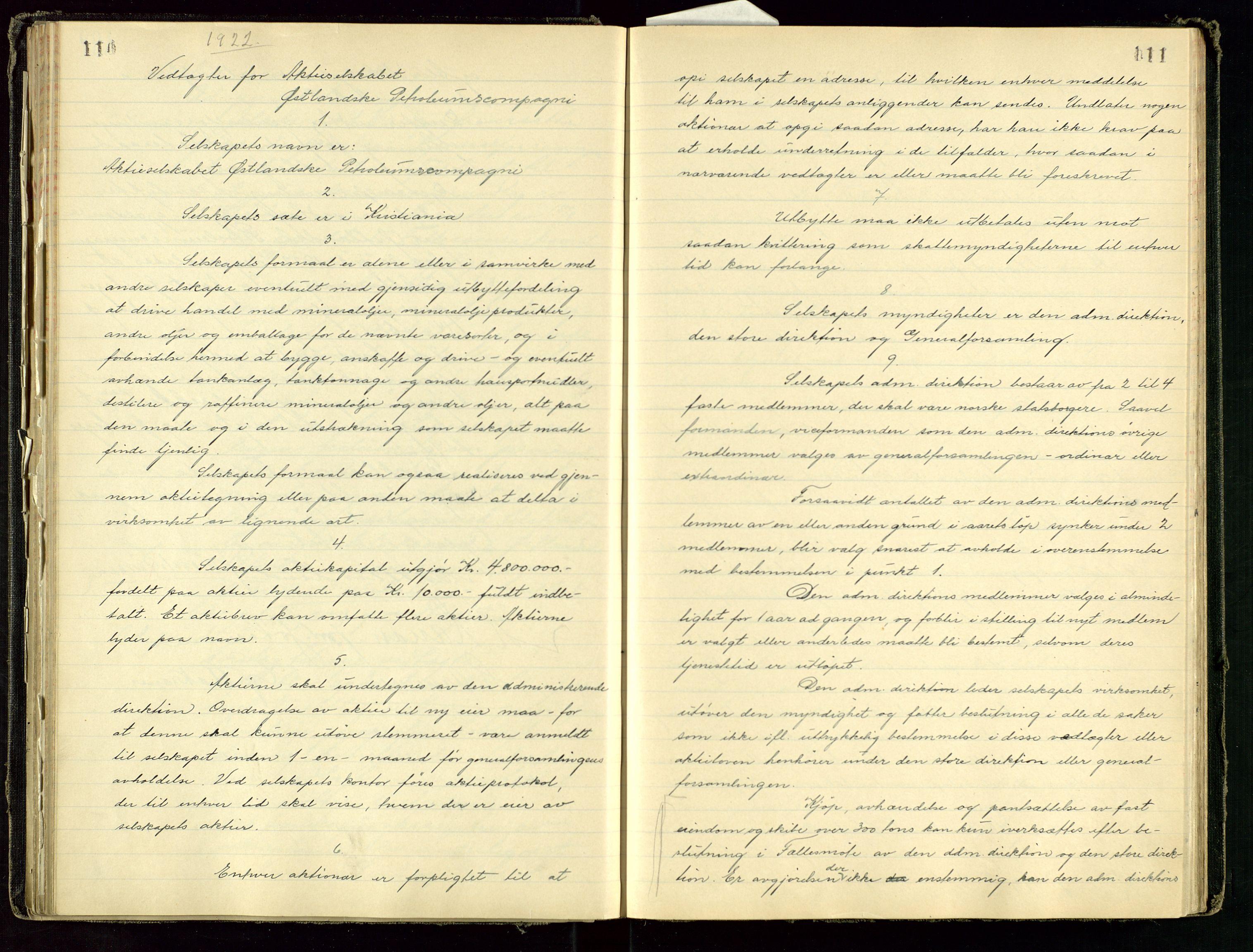 SAST, PA 1534 - Østlandske Petroleumscompagni A/S, A/Aa/L0001: Generalforsamlinger og direksjonsprotokoller., 1892-1960, s. 110-111
