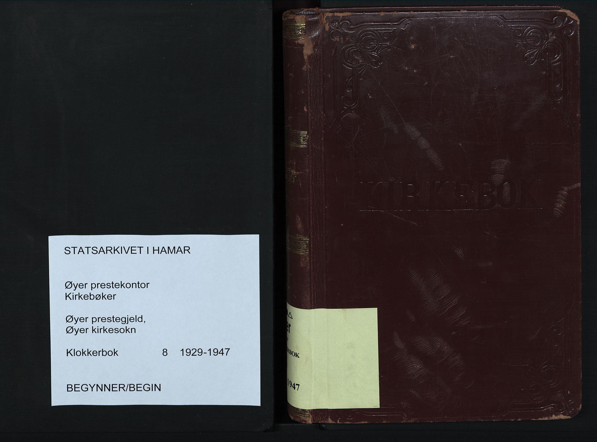 SAH, Øyer prestekontor, Klokkerbok nr. 8, 1929-1947