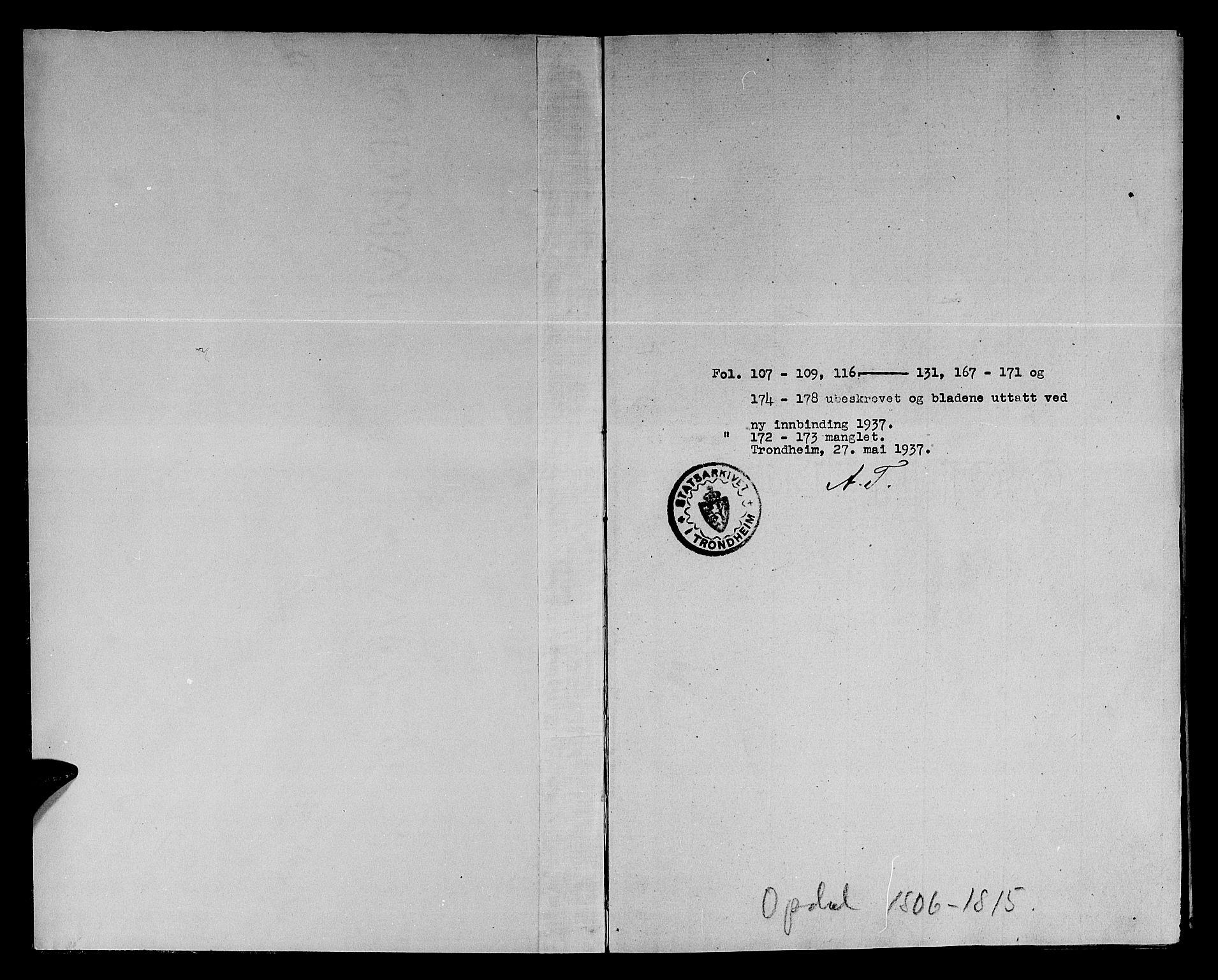 SAT, Ministerialprotokoller, klokkerbøker og fødselsregistre - Sør-Trøndelag, 678/L0894: Ministerialbok nr. 678A04, 1806-1815, s. 1