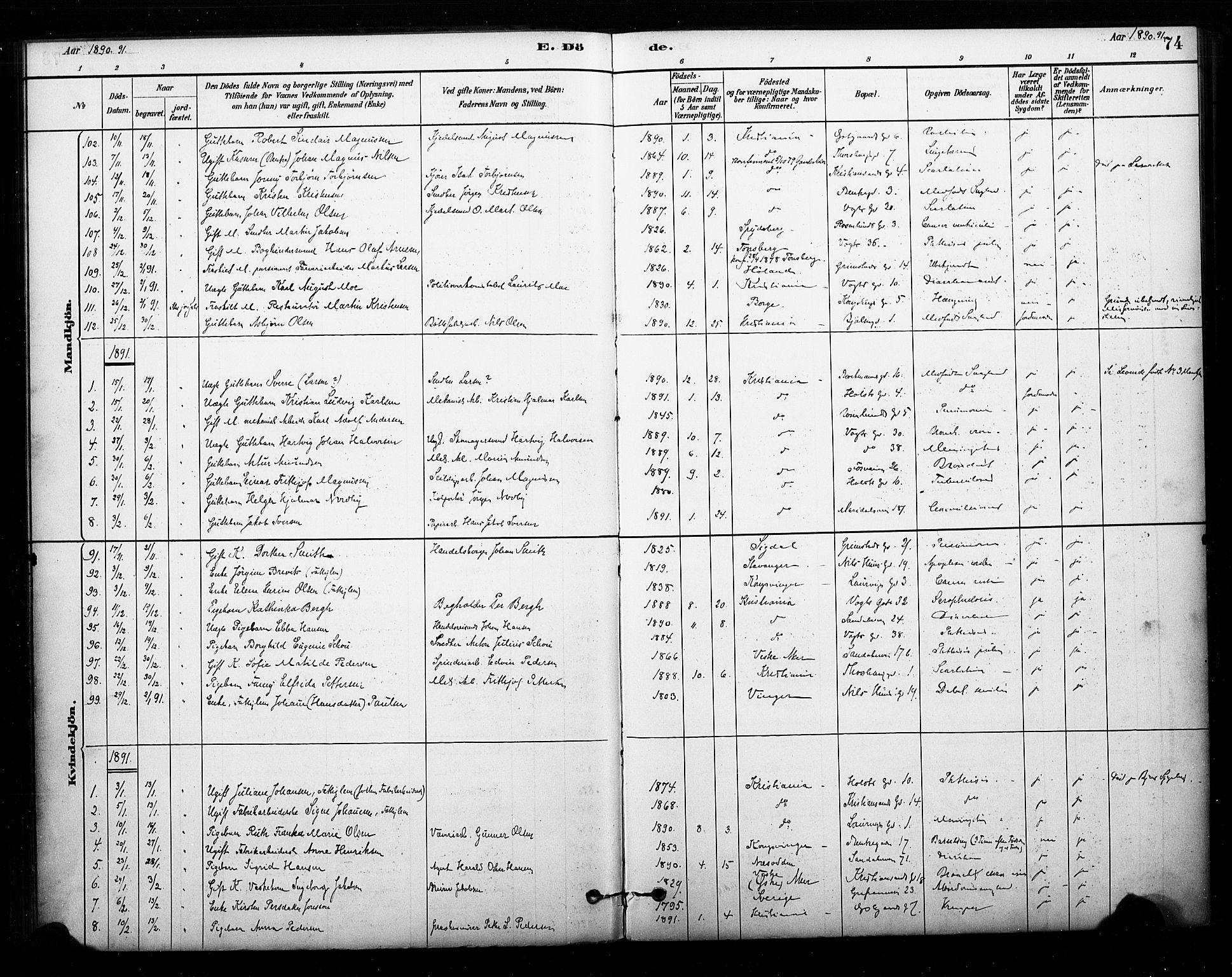 SAO, Sagene prestekontor Kirkebøker, F/L0003: Ministerialbok nr. 3, 1880-1922, s. 74