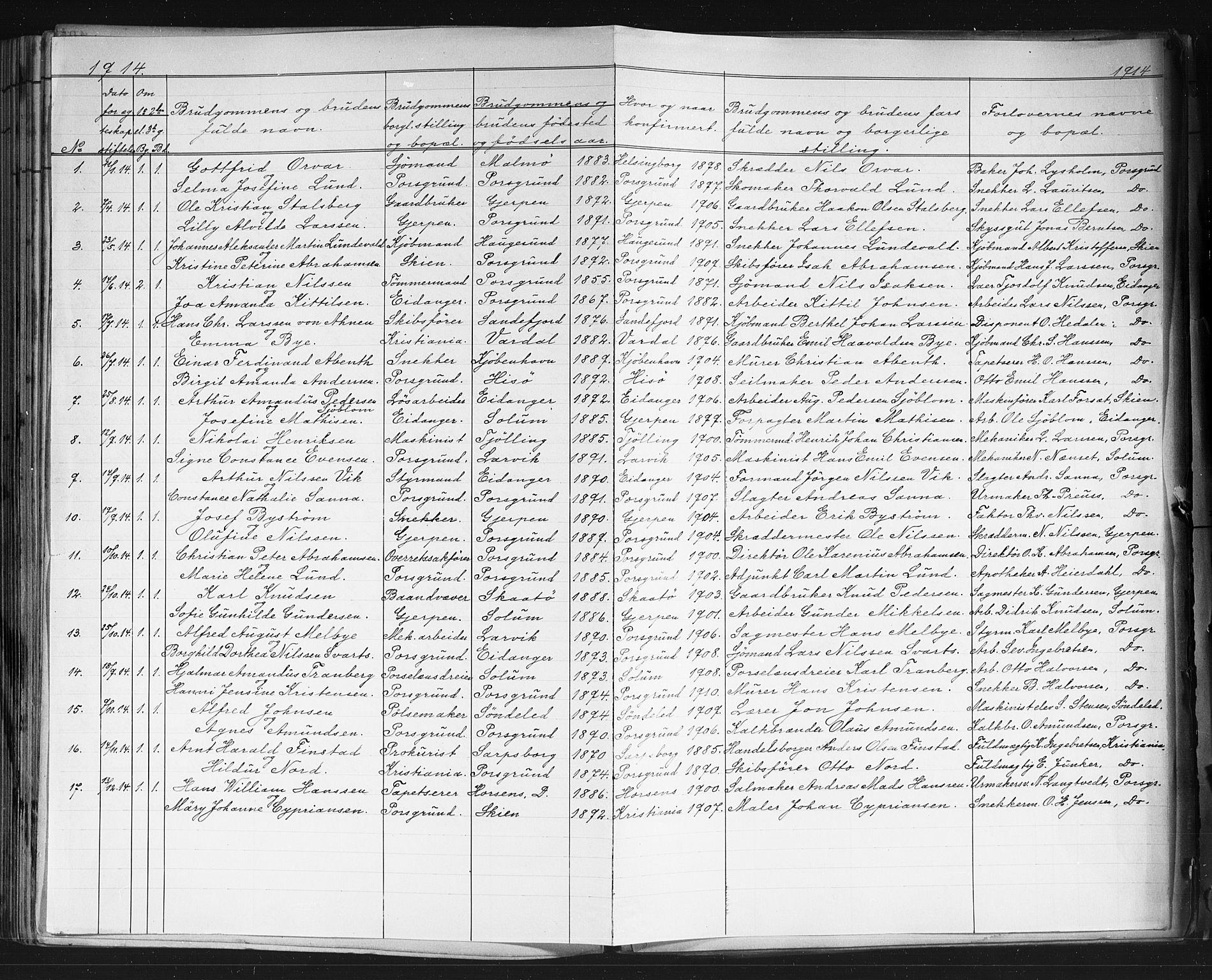 SAKO, Porsgrunn kirkebøker , G/Gb/L0005: Klokkerbok nr. II 5, 1883-1915