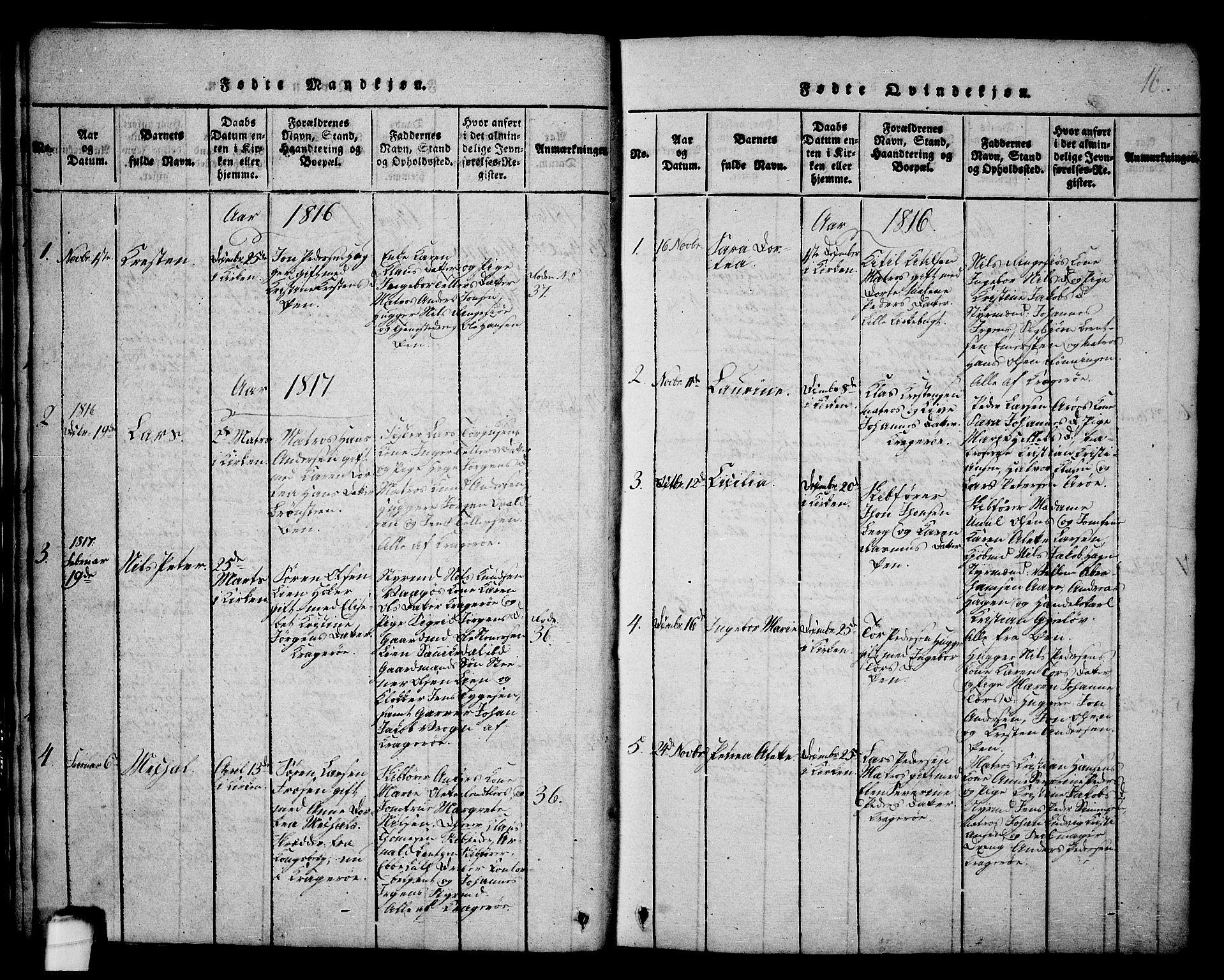 SAKO, Kragerø kirkebøker, G/Ga/L0002: Klokkerbok nr. 2, 1814-1831, s. 16