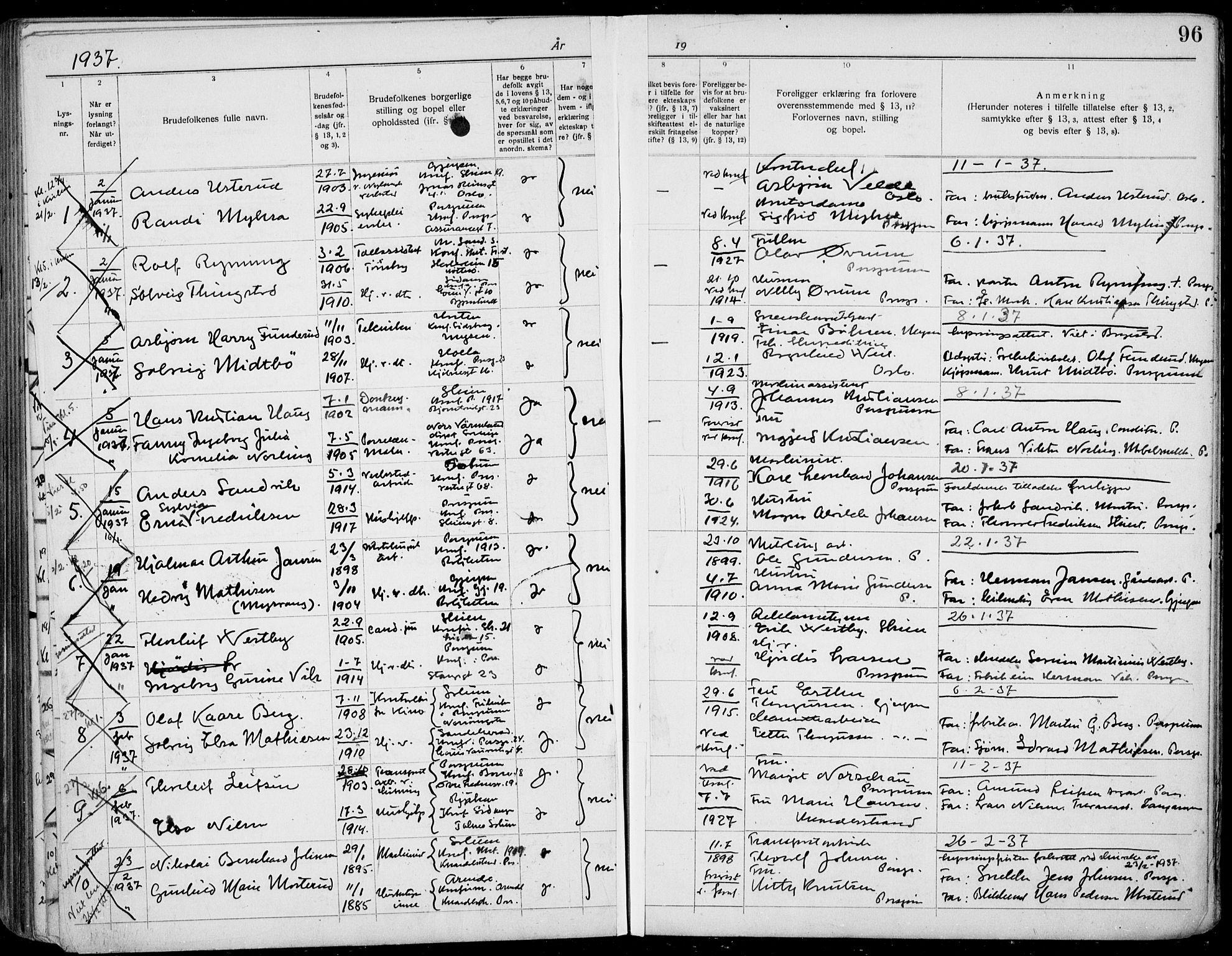 SAKO, Porsgrunn kirkebøker , H/Ha/L0001: Lysningsprotokoll nr. 1, 1919-1937, s. 96