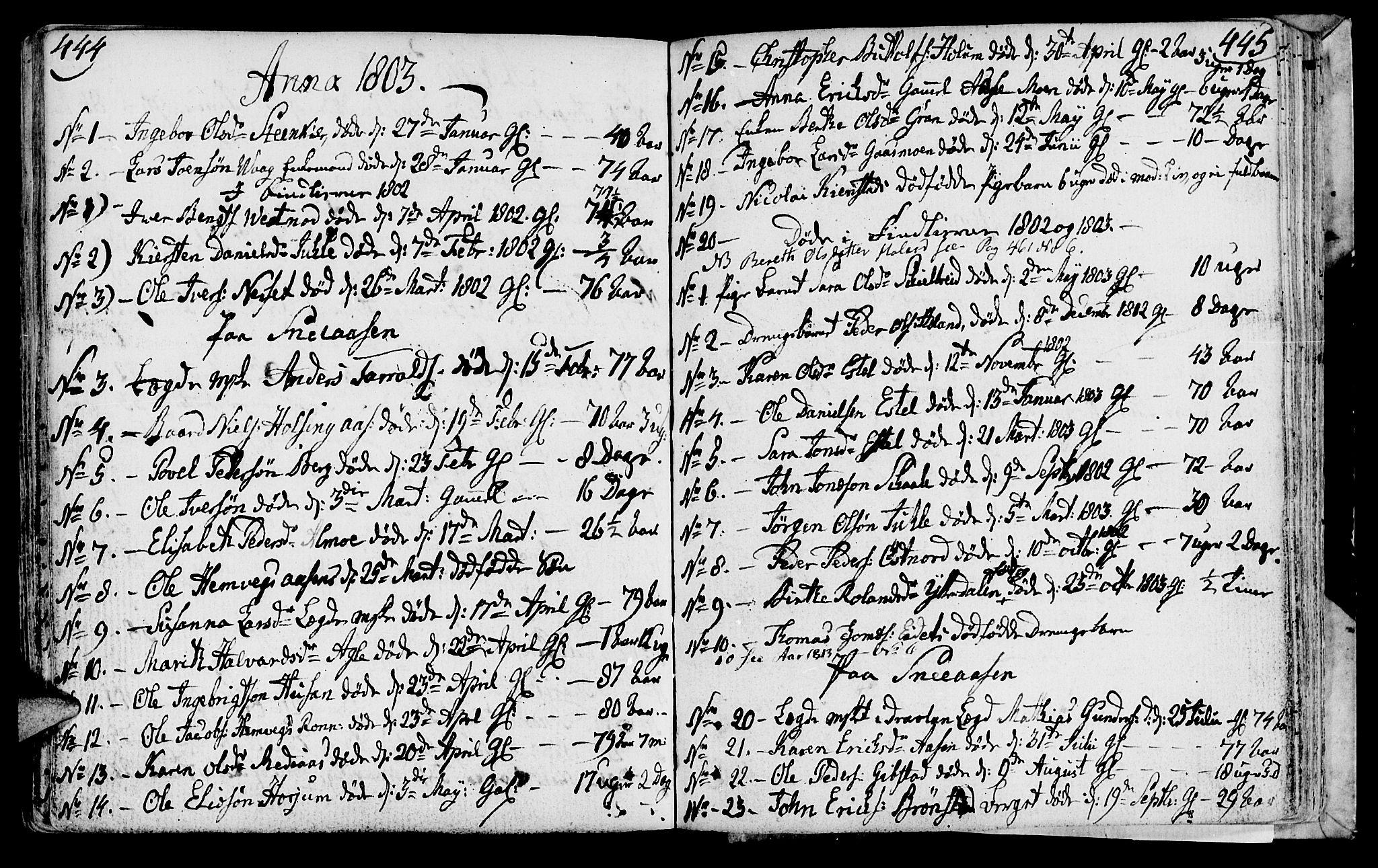 SAT, Ministerialprotokoller, klokkerbøker og fødselsregistre - Nord-Trøndelag, 749/L0468: Ministerialbok nr. 749A02, 1787-1817, s. 444-445