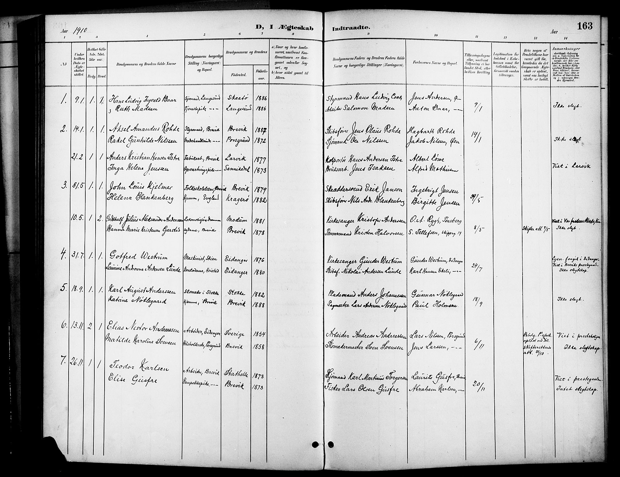 SAKO, Brevik kirkebøker, G/Ga/L0005: Klokkerbok nr. 5, 1901-1924, s. 163