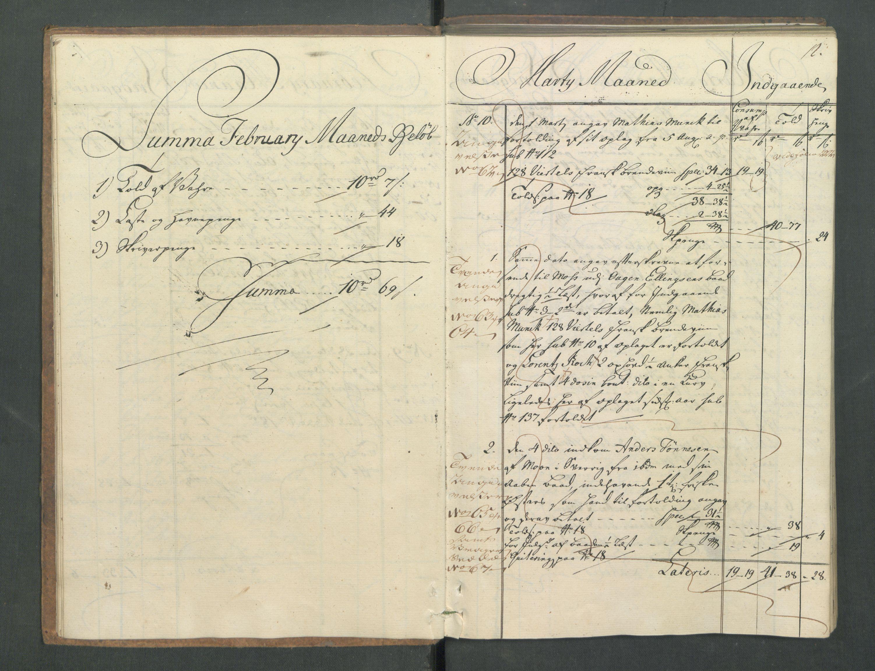 RA, Generaltollkammeret, tollregnskaper, R02/L0022: Tollregnskaper Fredrikstad, 1756, s. 11b-12a