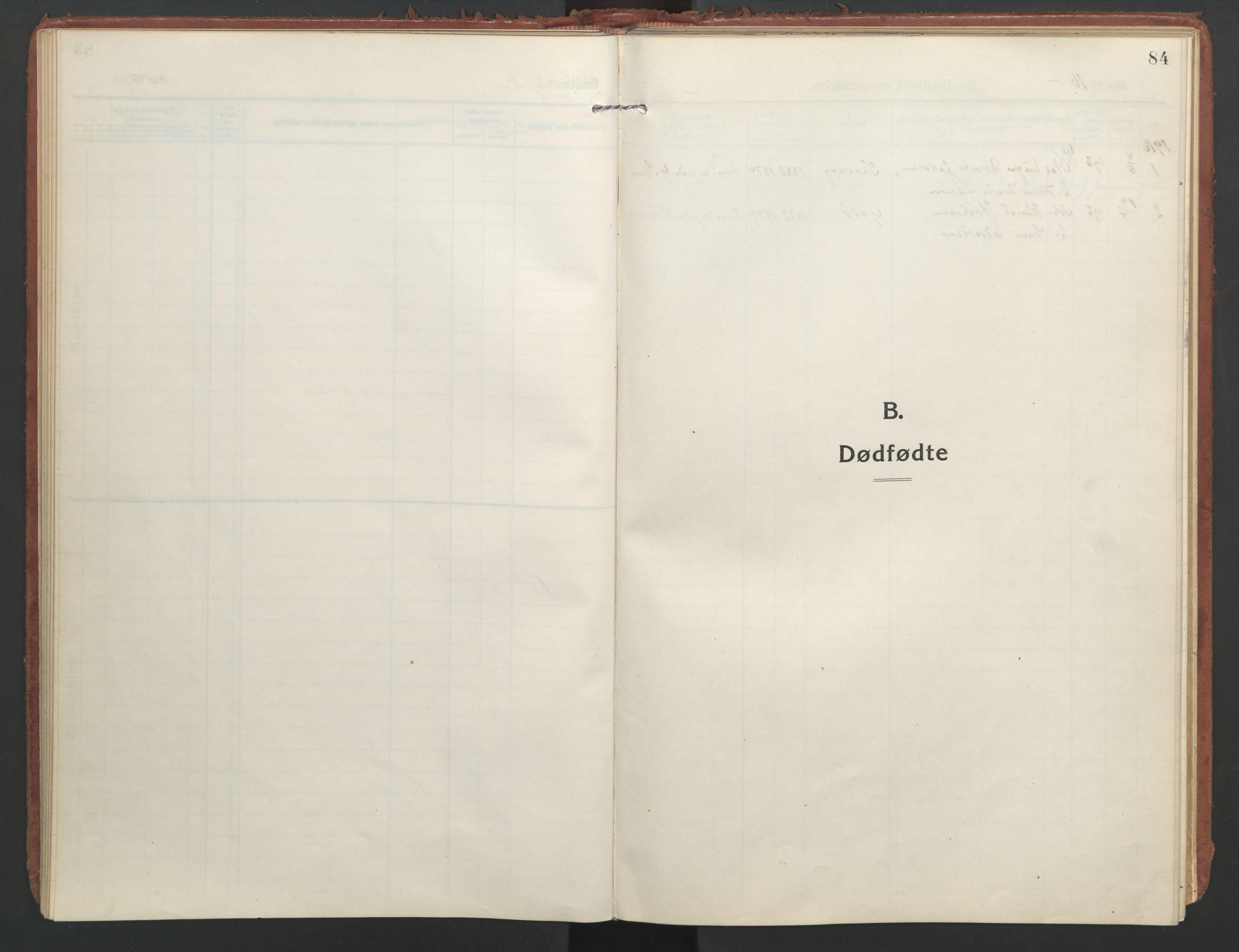 SAT, Ministerialprotokoller, klokkerbøker og fødselsregistre - Nordland, 804/L0086: Ministerialbok nr. 804A07, 1916-1935, s. 84