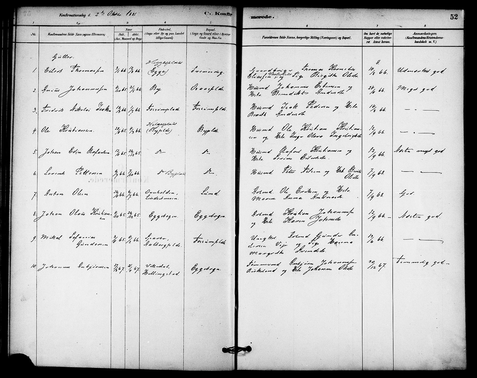 SAT, Ministerialprotokoller, klokkerbøker og fødselsregistre - Nord-Trøndelag, 740/L0378: Ministerialbok nr. 740A01, 1881-1895, s. 52